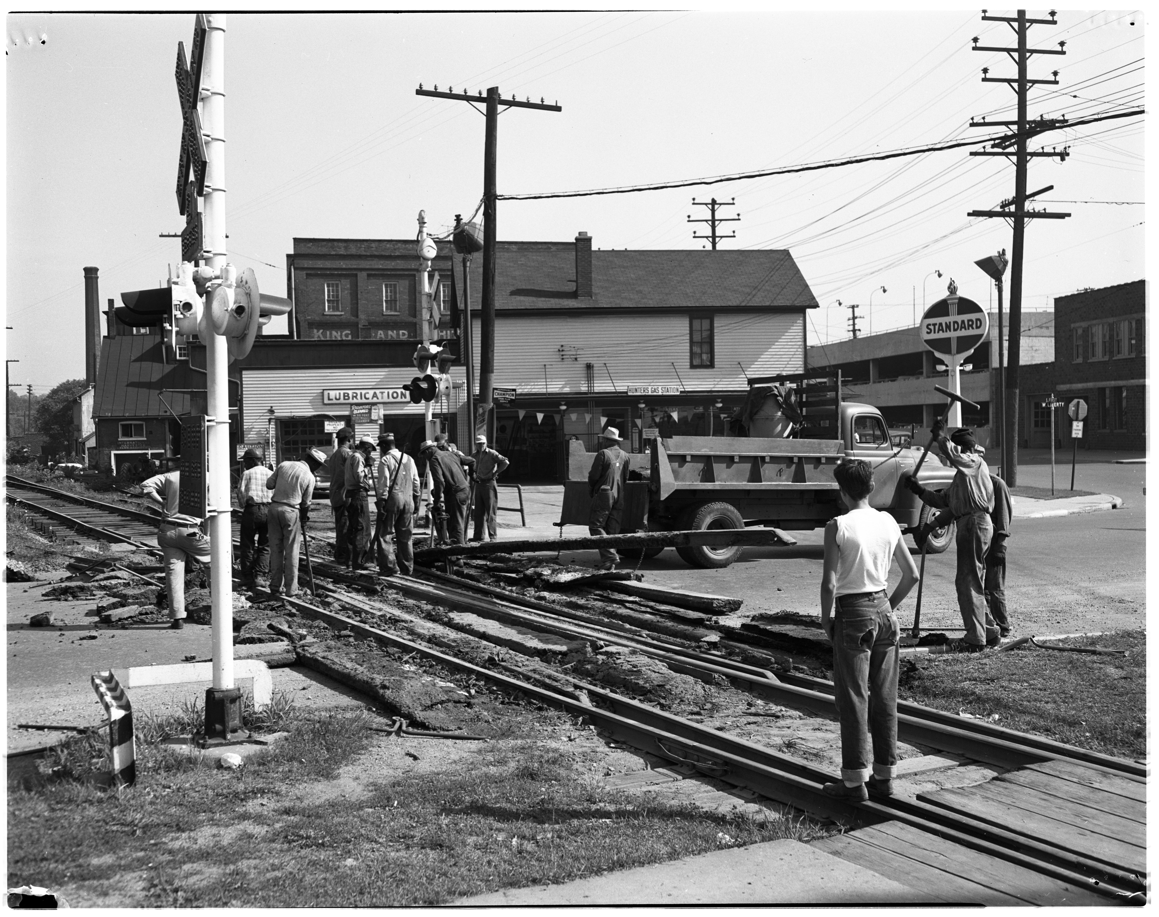 Ann Arbor Railroad Crossing Gets New Tracks, July 1953 image