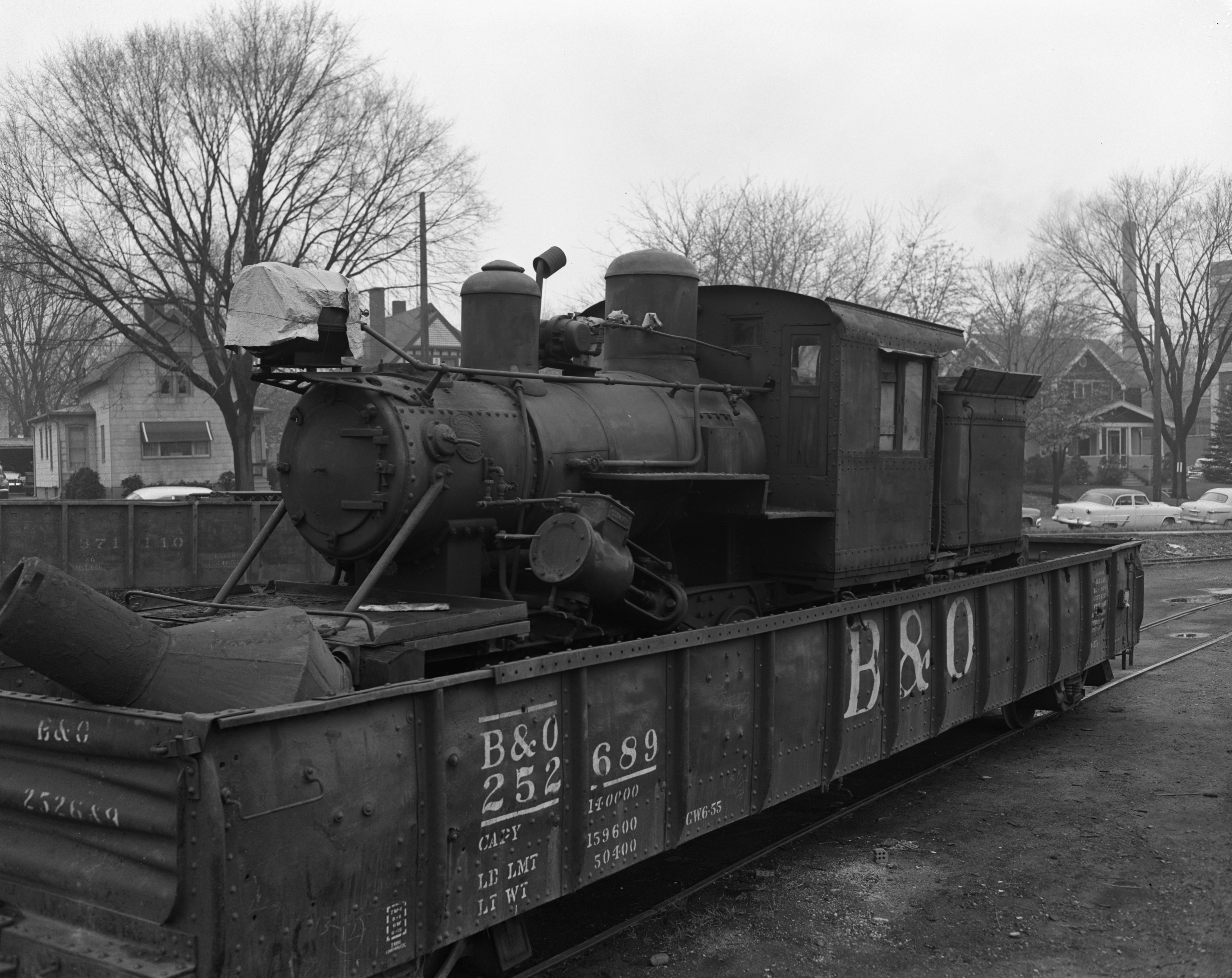 Climax locomotive stops in Ann Arbor, November 1956 image