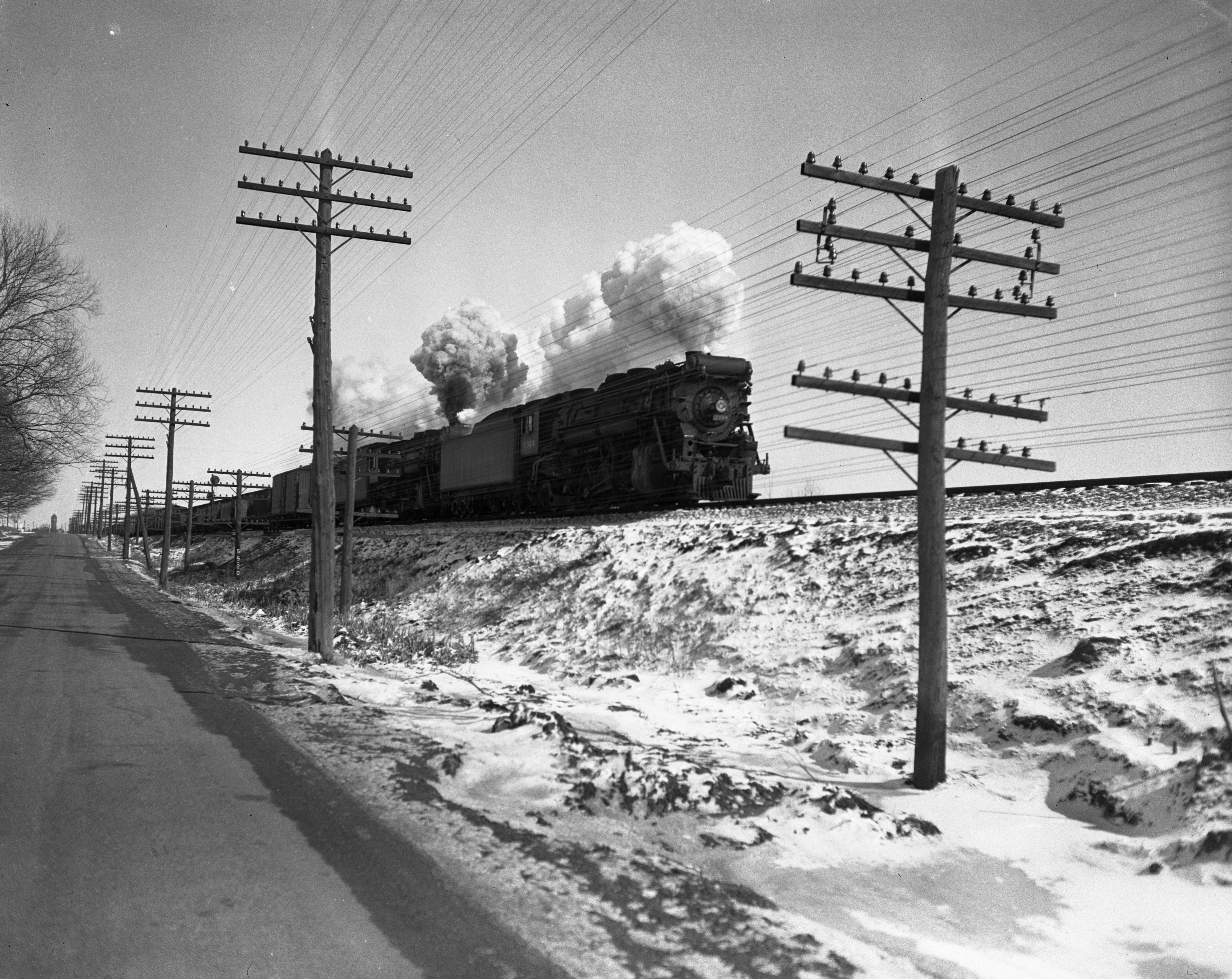 New York Central Railroad Double Header in Winter, circa 1937 image