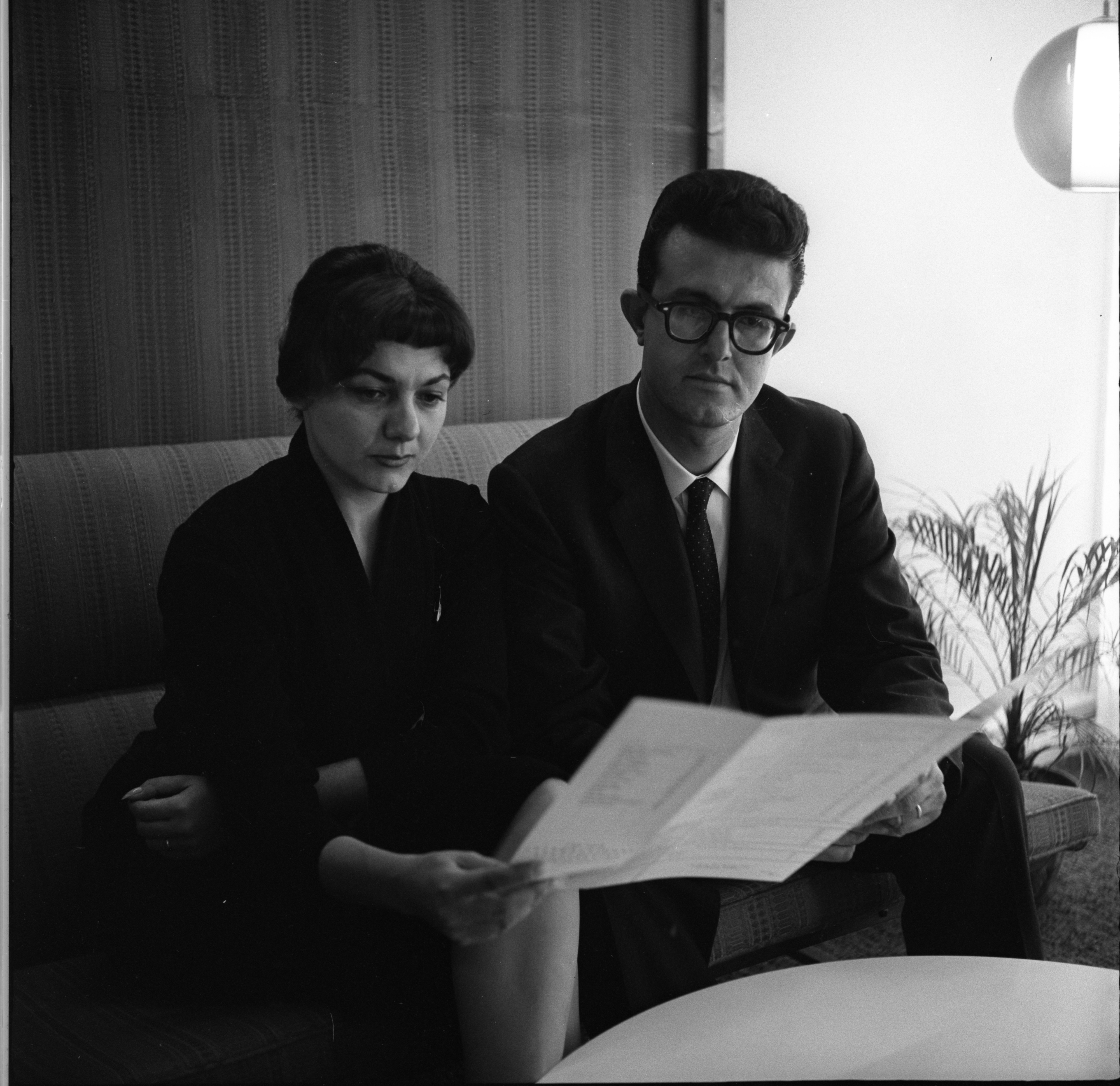 Mr. & Mrs. Fenerli Look Over Their Restaurant, The Rubaiyat's, Menu, October 6, 1960 image