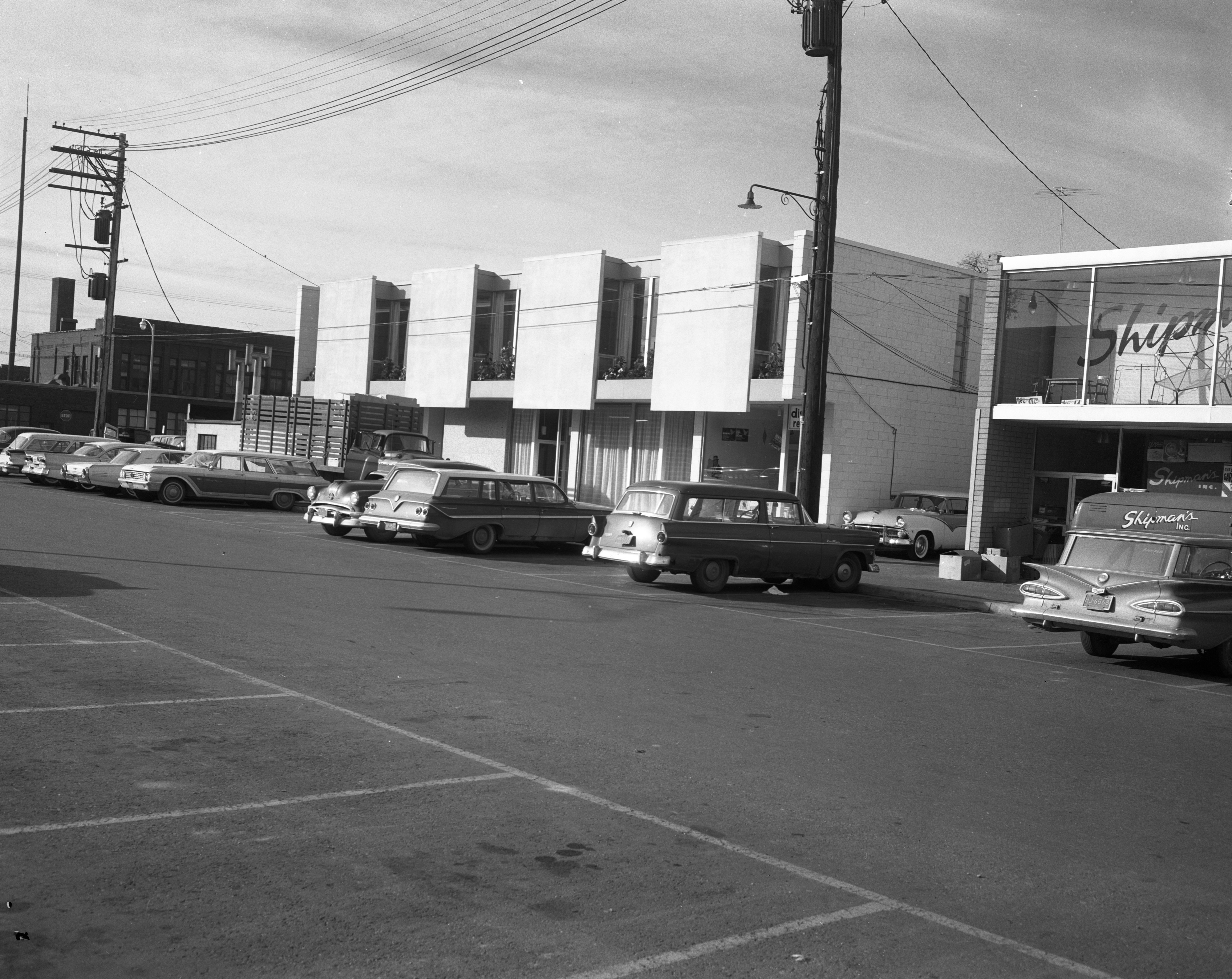 The Curtis Building With the Rear Exterior Of The Rubaiyat Restaurant, November 3, 1961 image