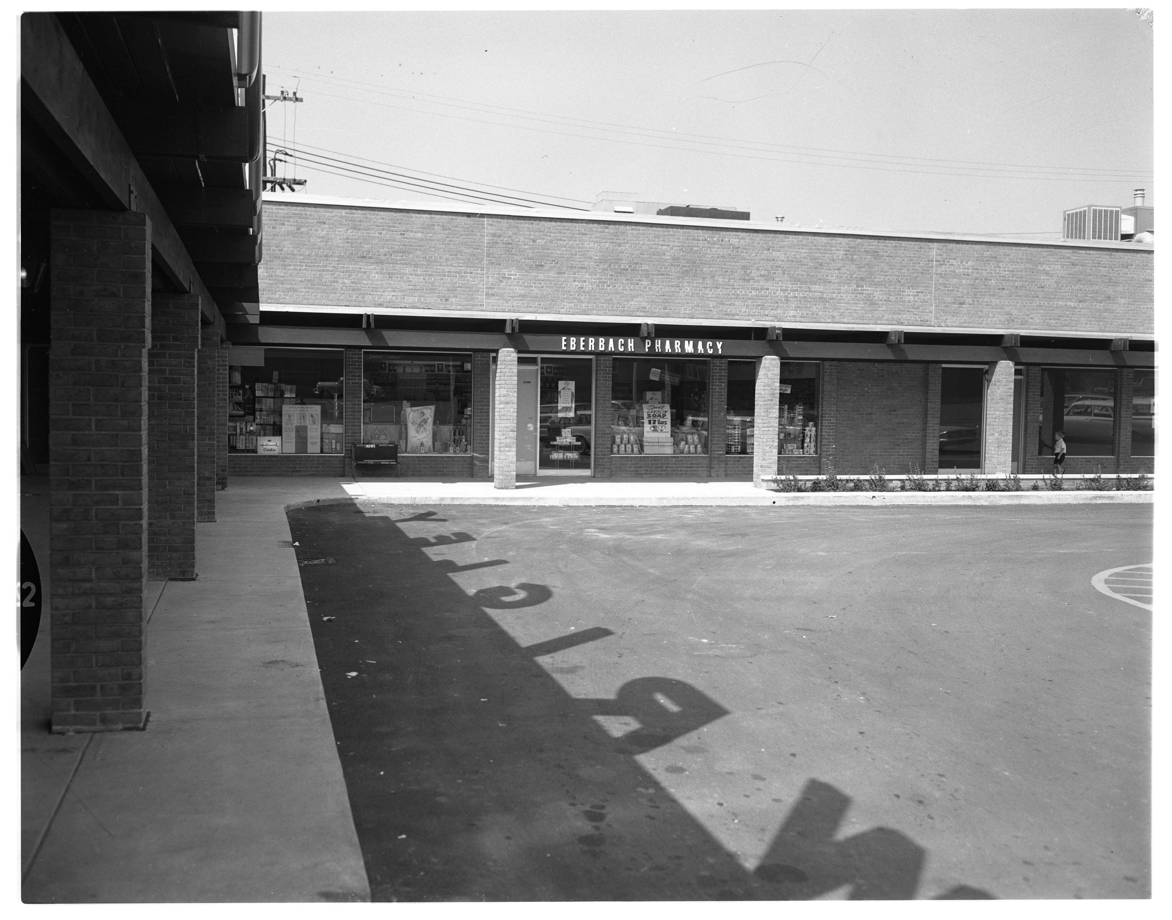 Exterior of Eberbach Pharmacy at Lamp Post Plaza Shopping Center, August 1962 image