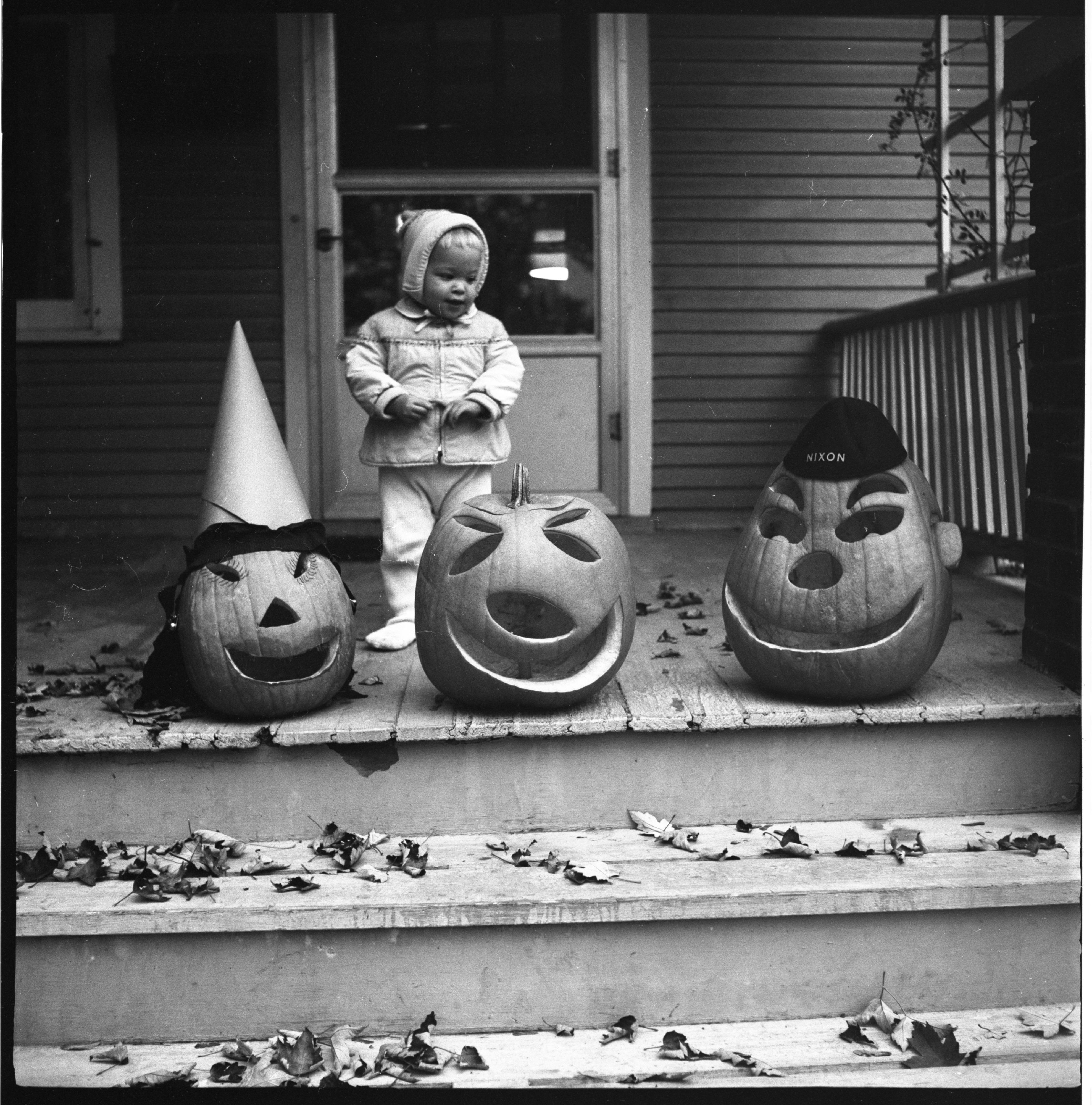 Jackie Green With Jack-O-Lanterns, October 1960 image