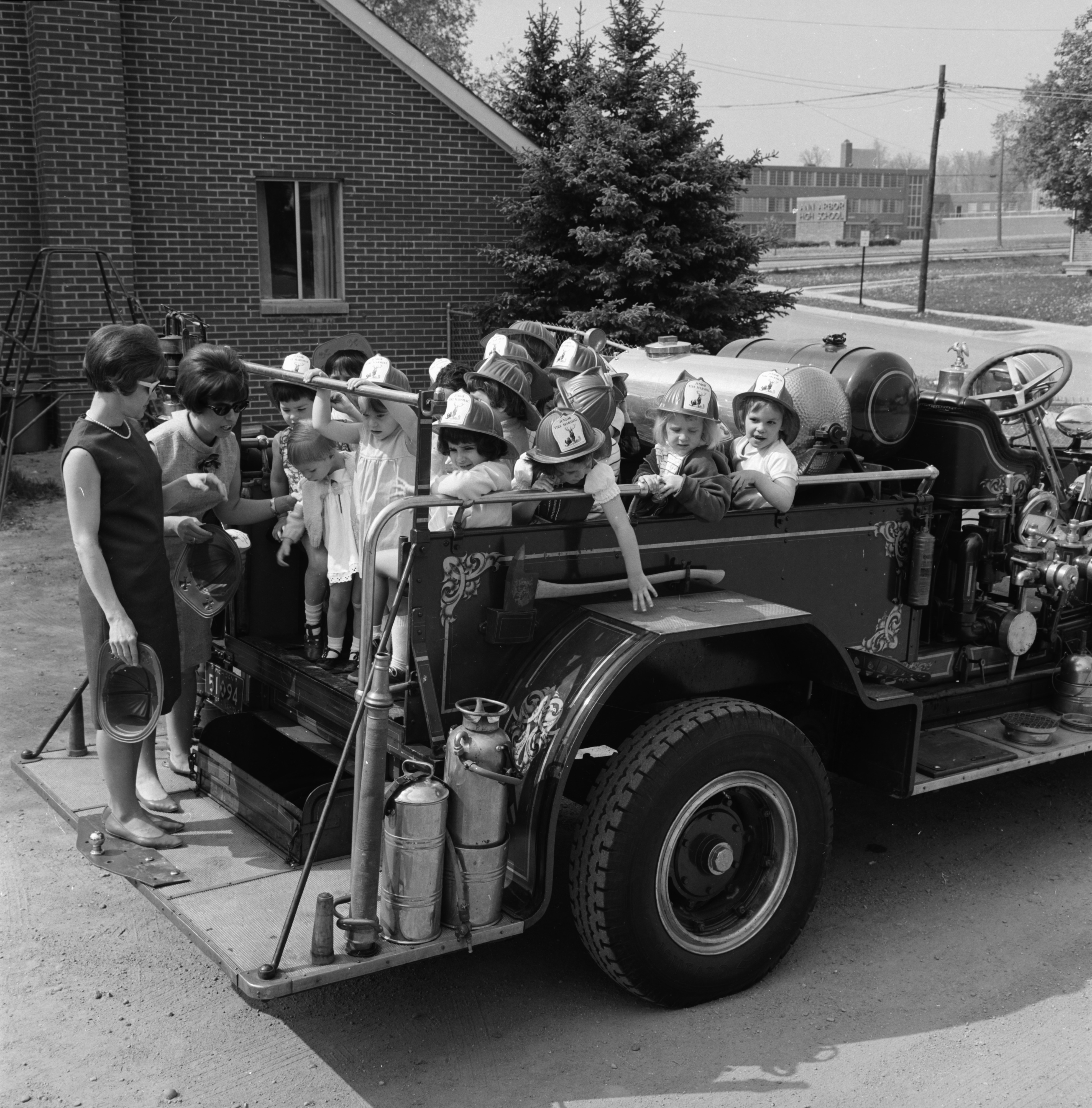 Jack and Jill Nursery School children visit fire station, May 1967 image