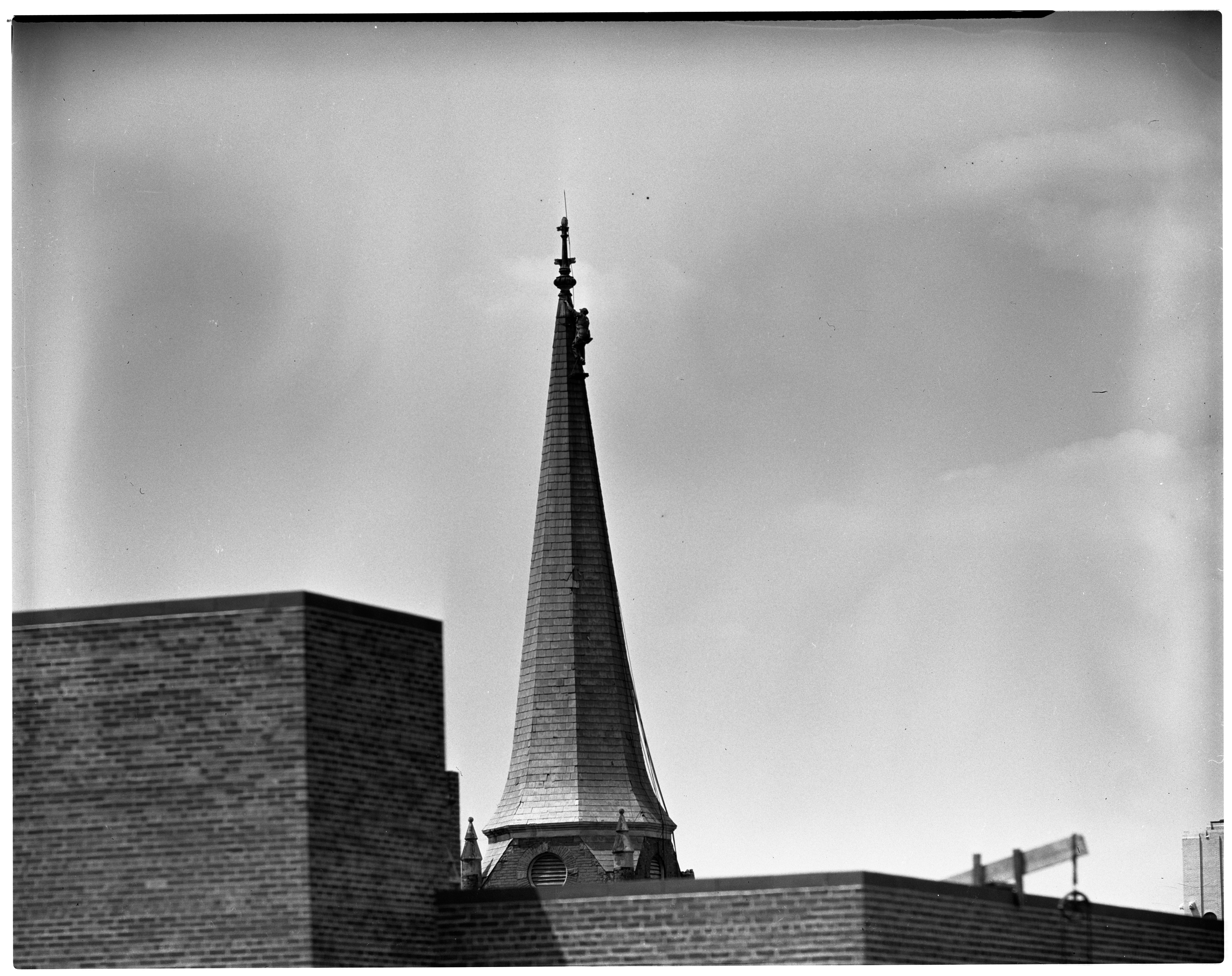 Steeplejack Climbs Zion Lutheran Church Steeple, August 1936 image