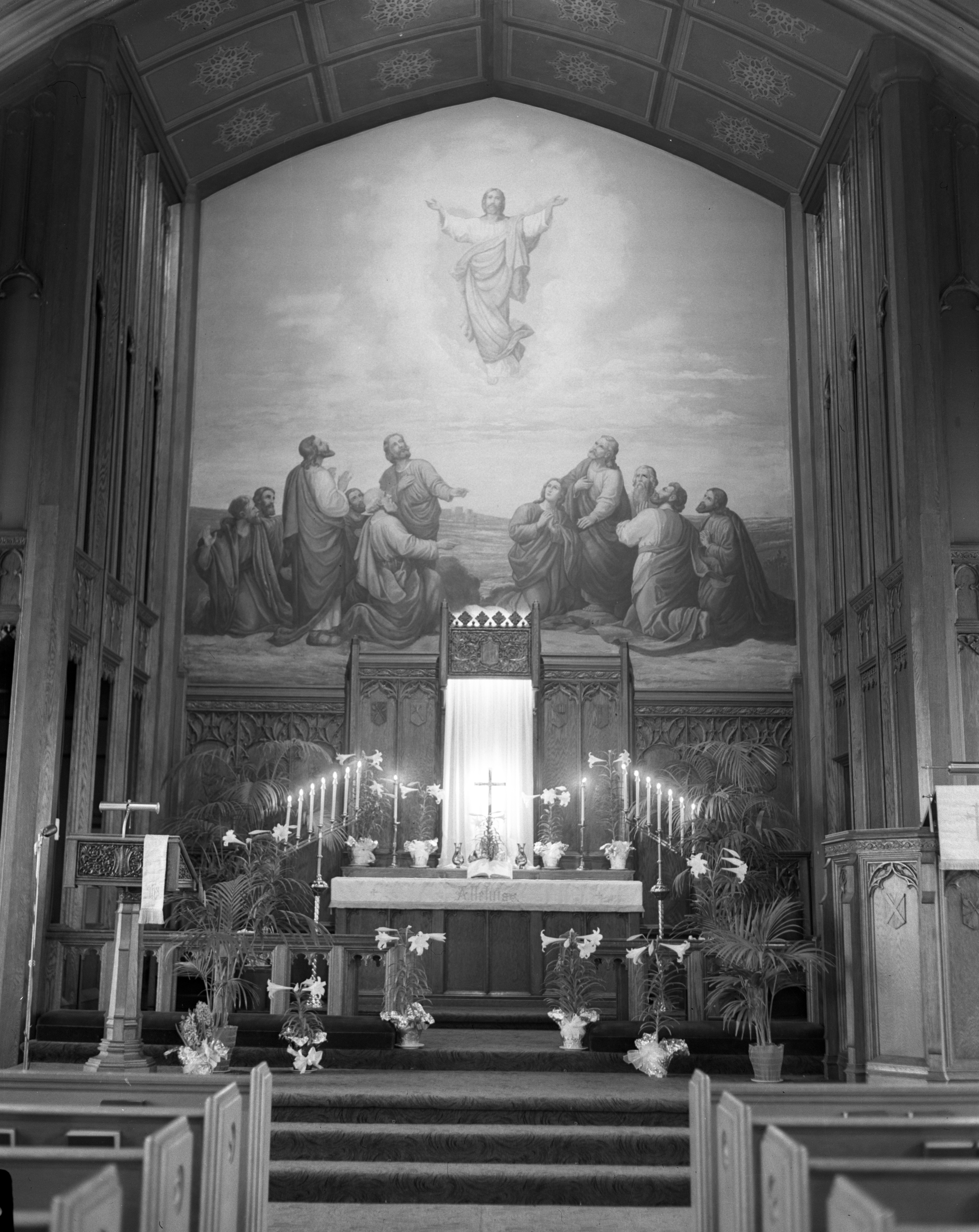 St. Paul's Lutheran Church Interior Easter Decorations, March 1951 image