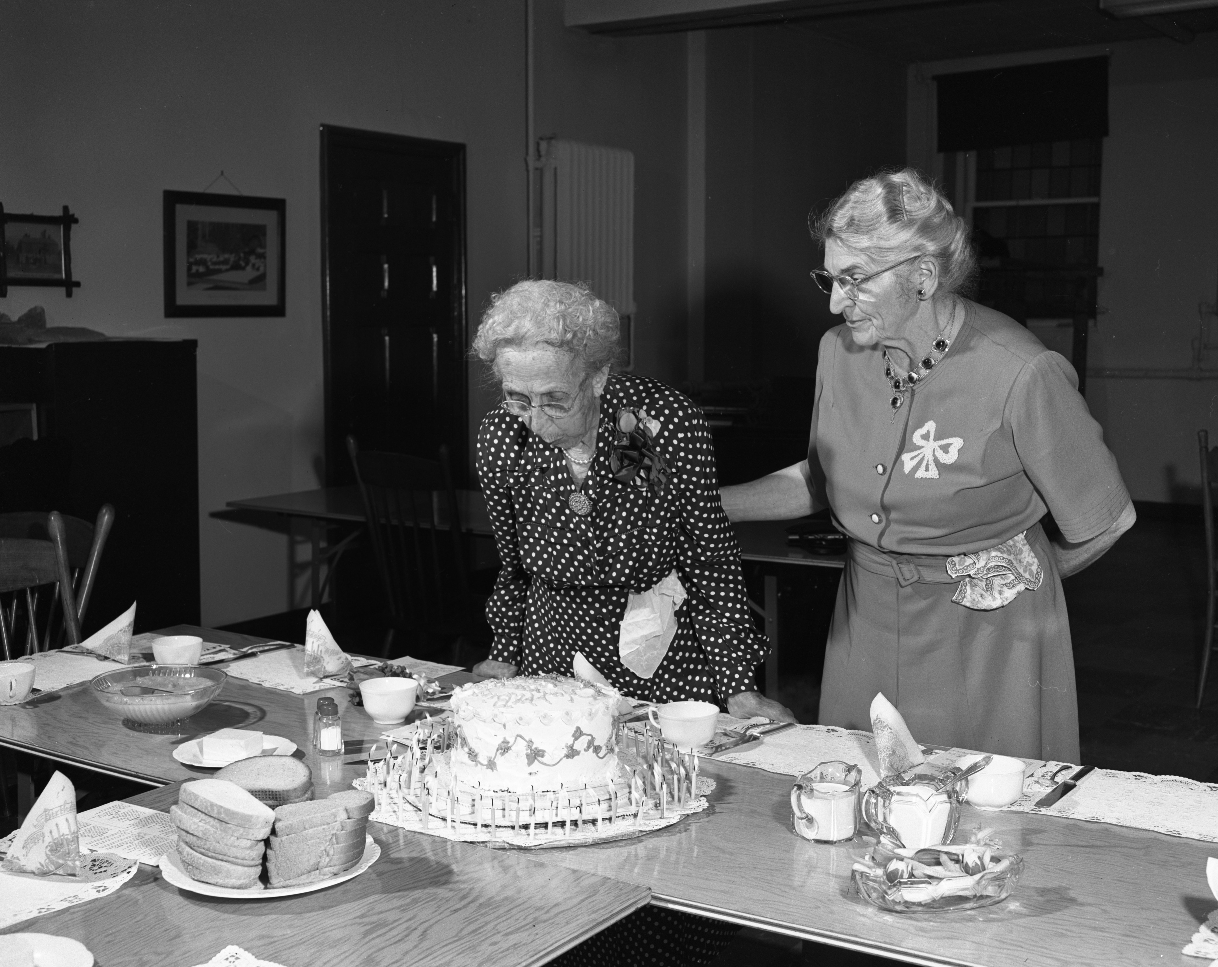 Clara Schmidt Blows Out Candles For Her 90th Birthday, May 1951 image