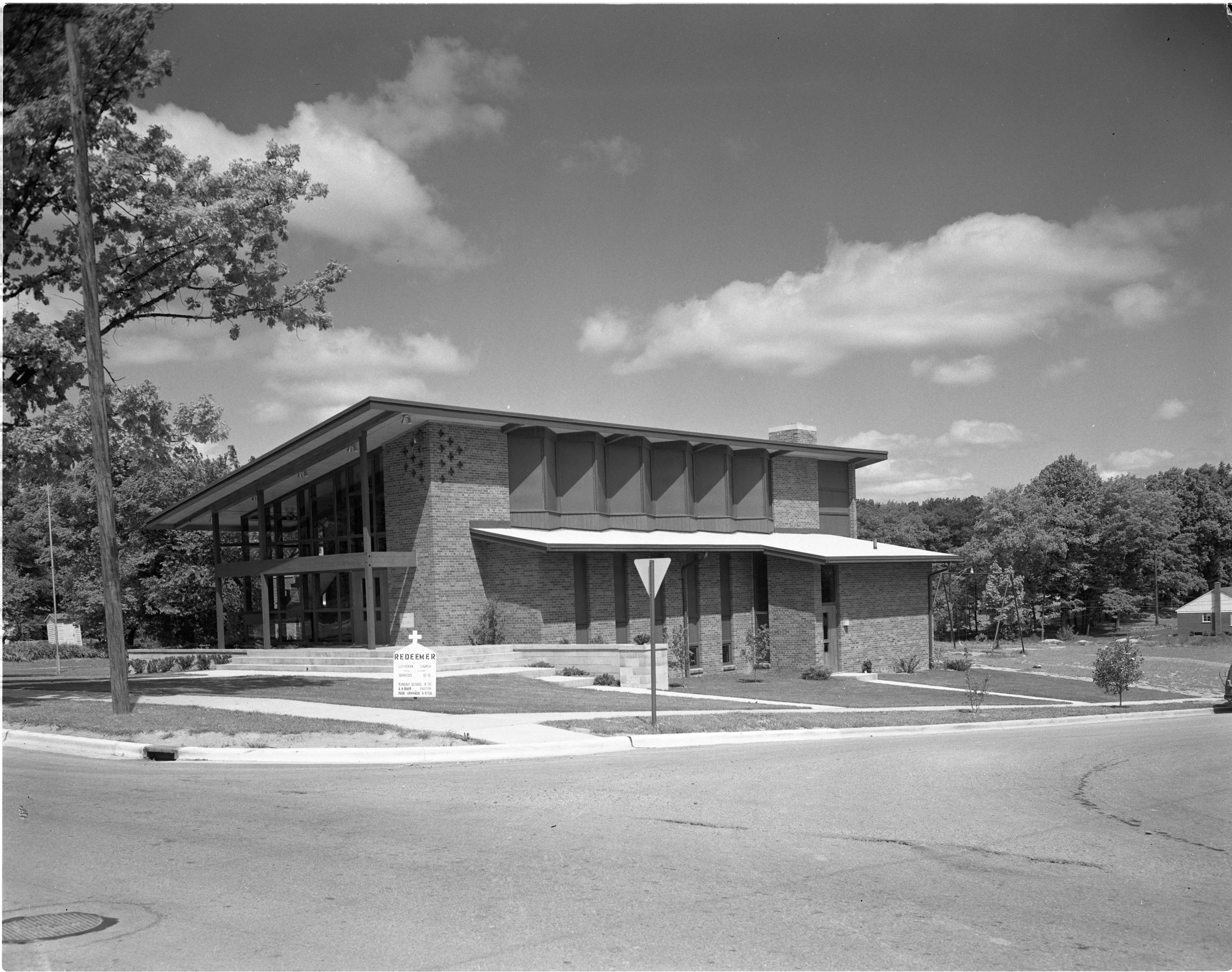Exterior Of New Redeemer Lutheran Church Building, May 1958 image