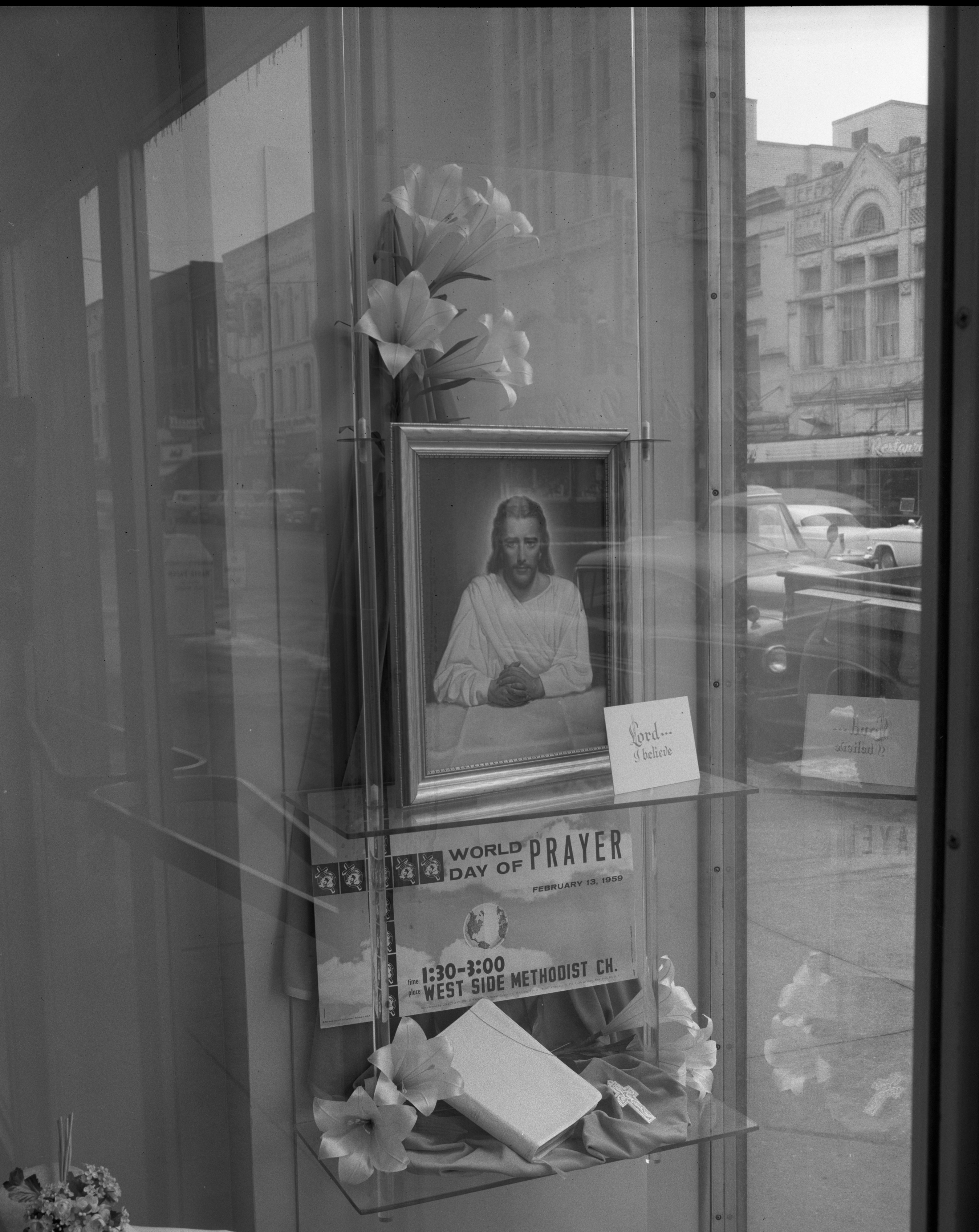 West Side Methodist Church World Day of Prayer Display in Goodyears Window, February 1959 image