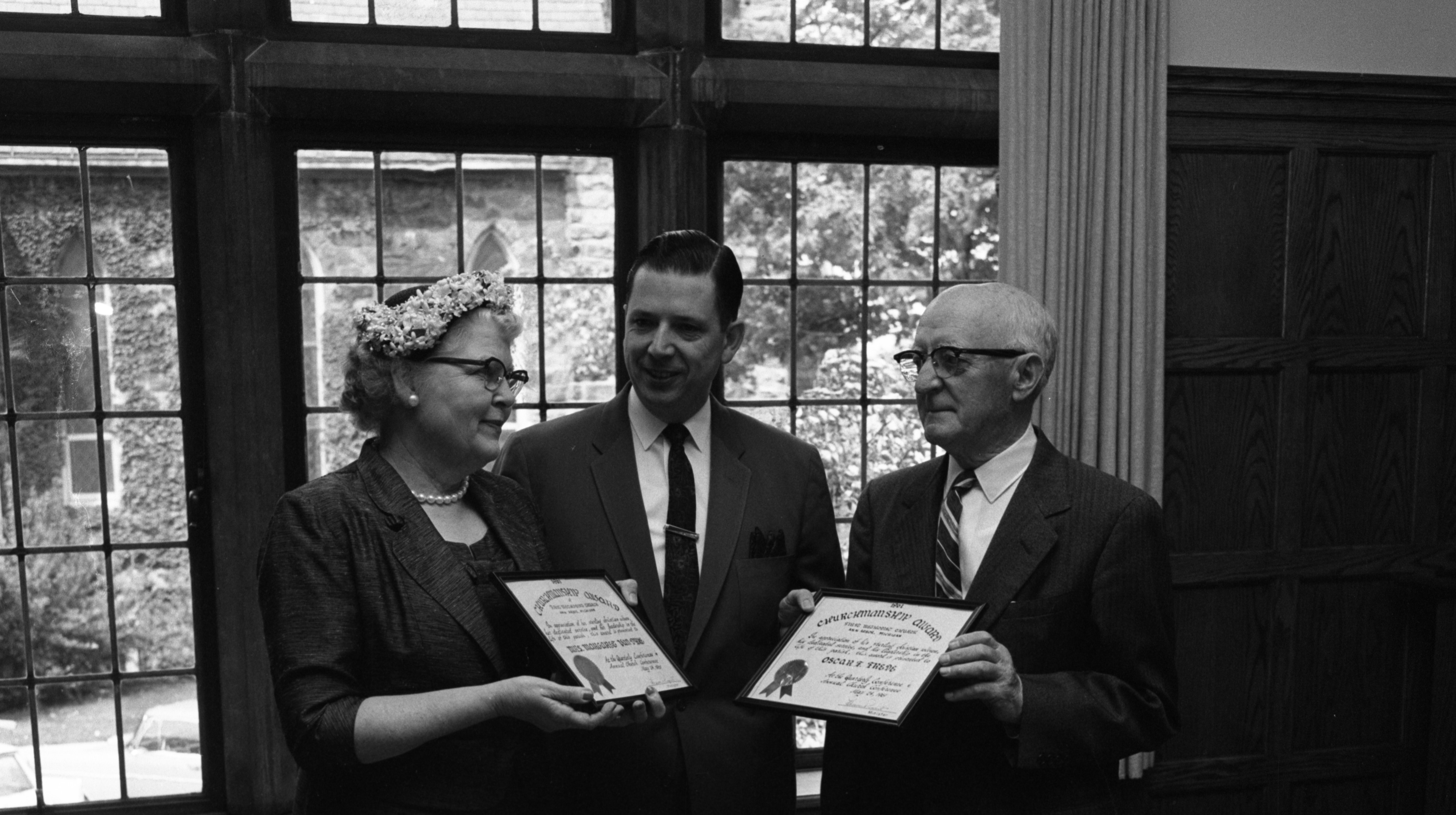 Mrs. Neil H. Van Dyke and Oscar F. Frede Receive Churchmanship Awards at First Methodist Church, May 1961 image