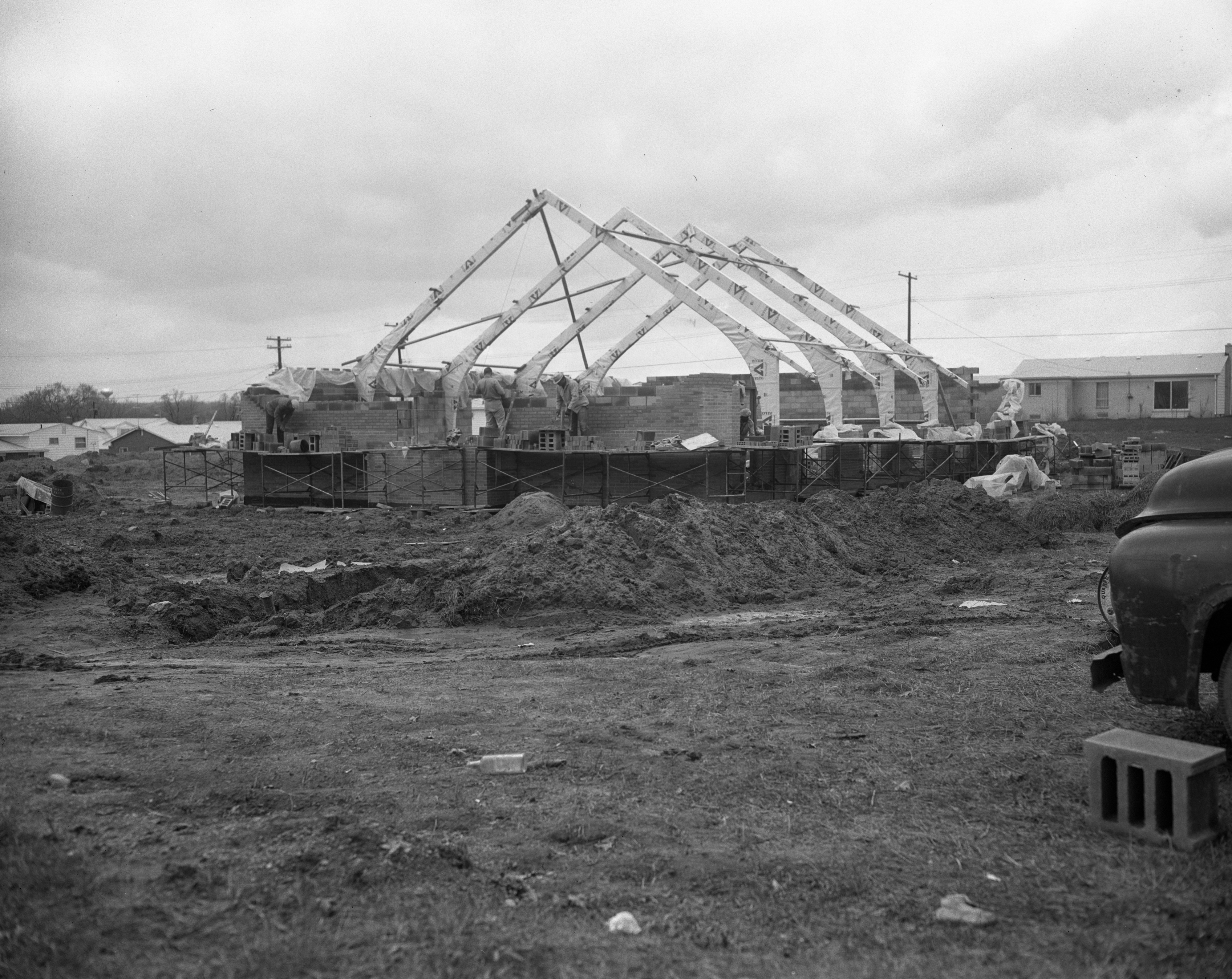 Construction on the Darlington Lutheran Church, Packard Rd, April 1963 image