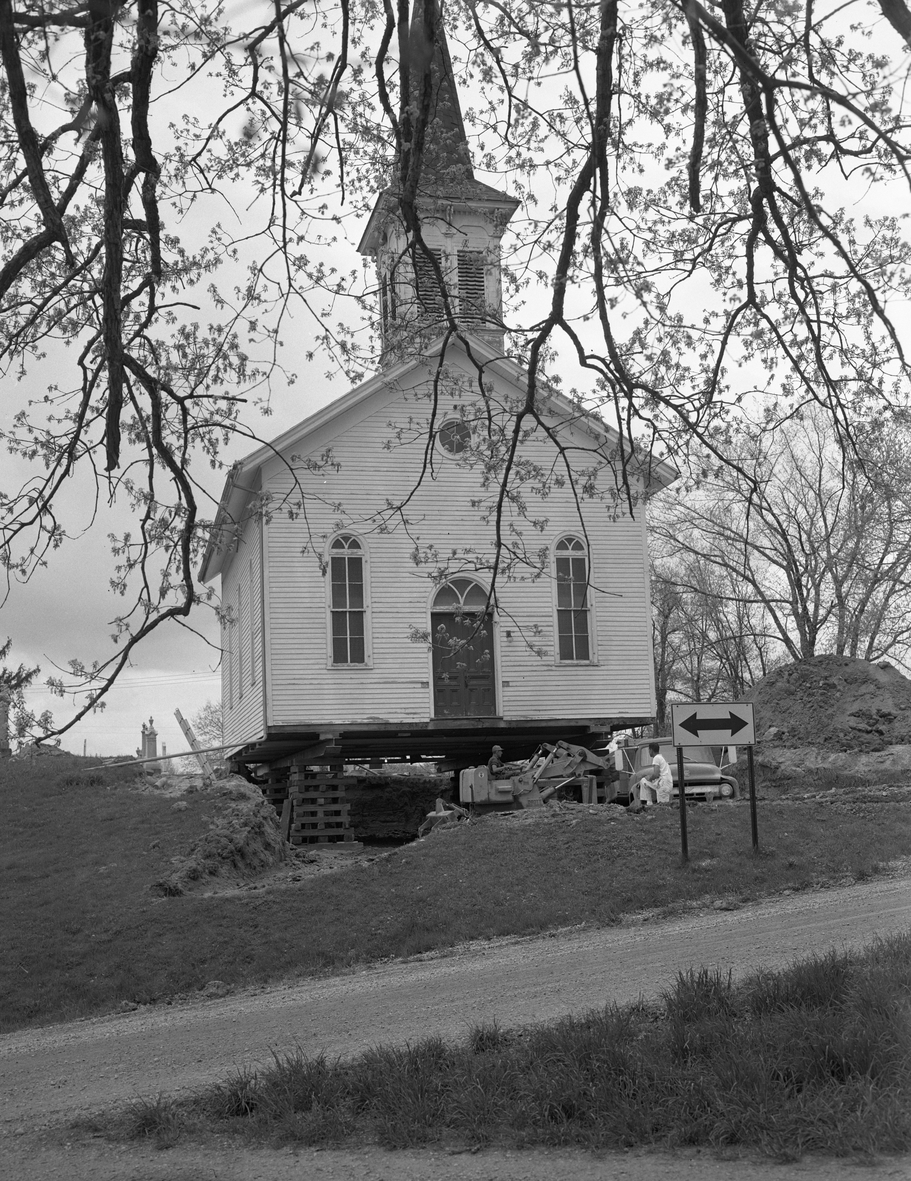 St. Thomas Lutheran Church raised for new basement, May 1965 image