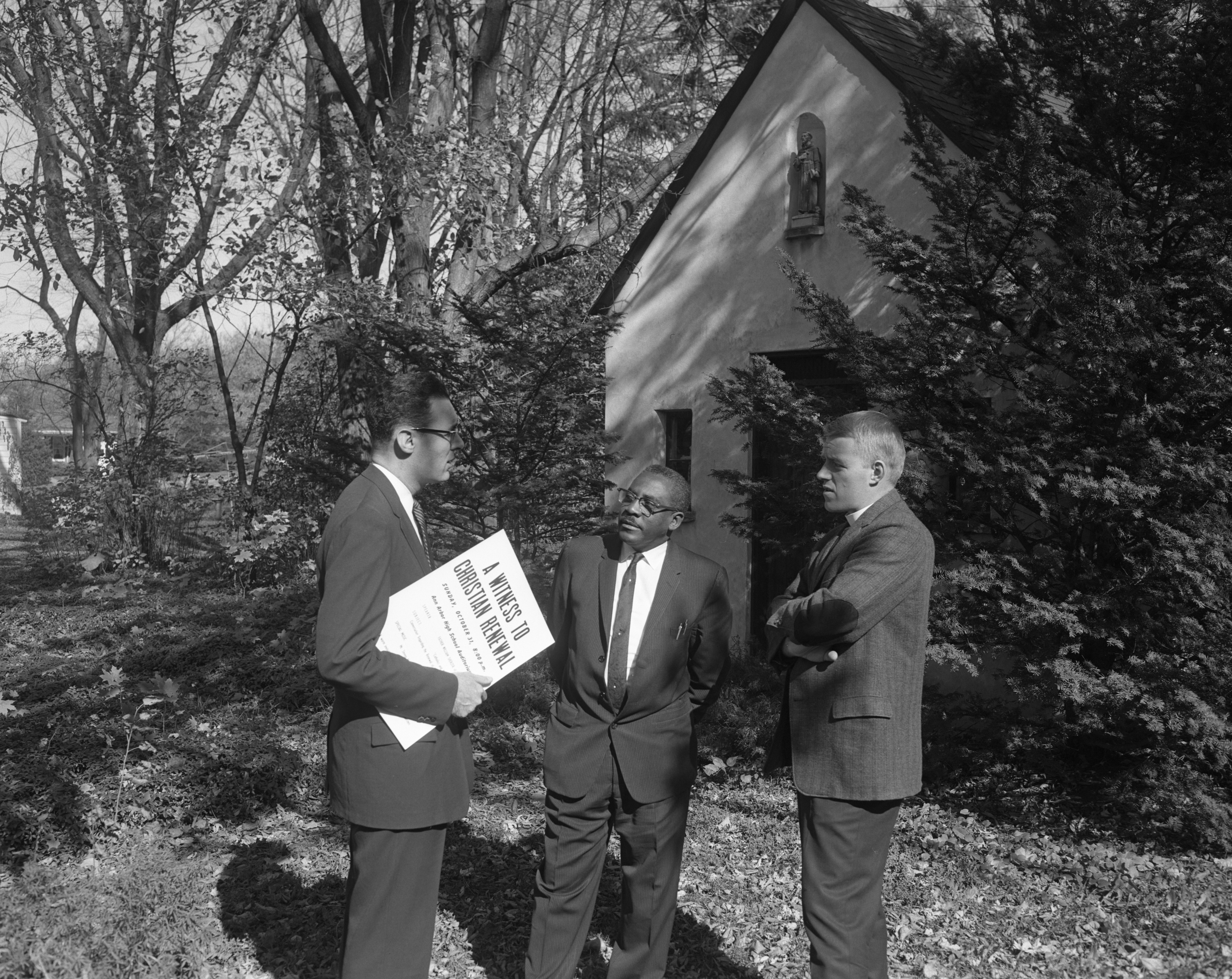"Rev. Charles Gensheimer, Rev. John Woods, and Rev. Colin Campbell planning ""A Witness to Christian Renewal,"" October 1965 image"
