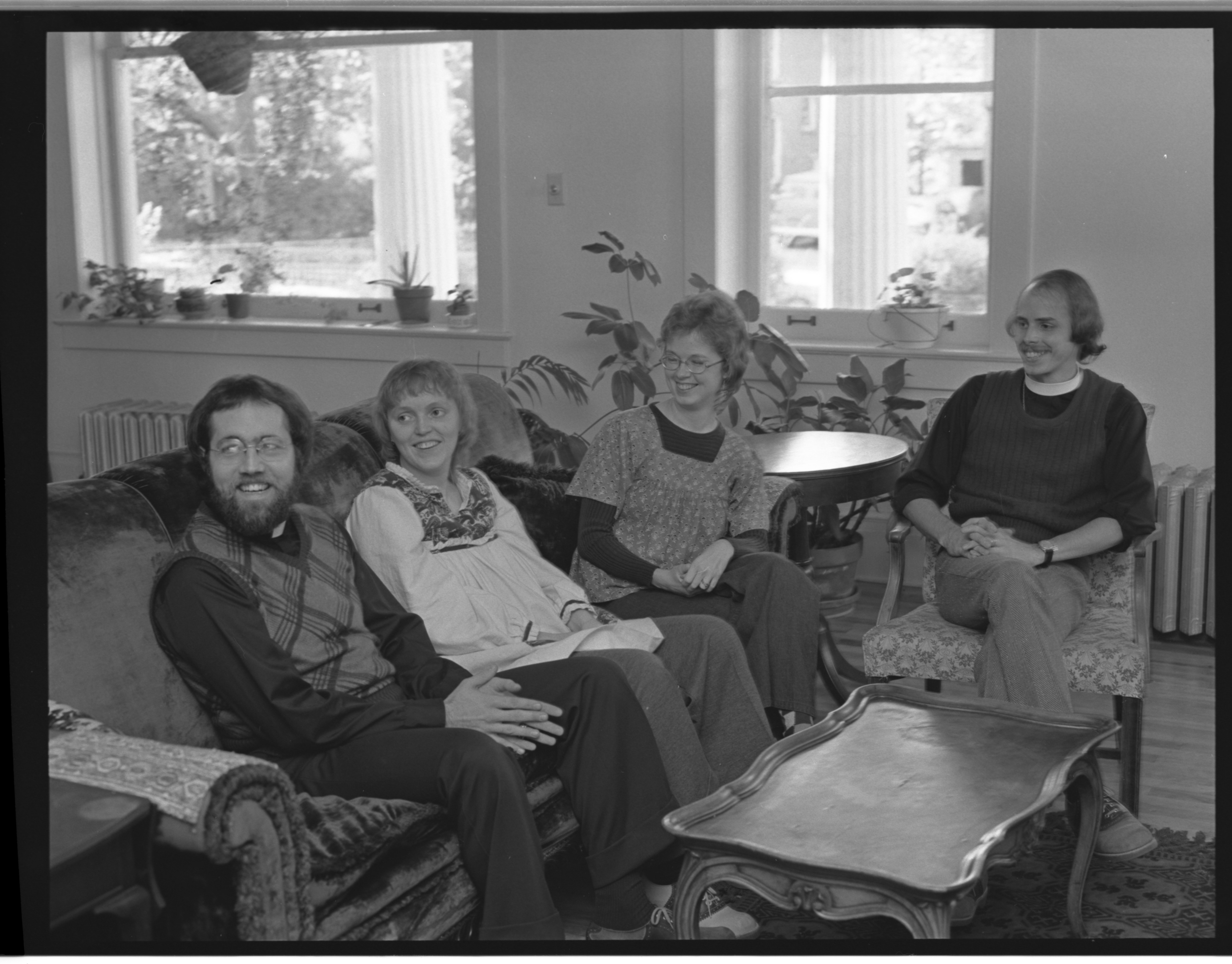 Canterbury House Ministers & Wives: Rev and Mrs. Andrew Foster Rev. and Mrs. Bruce Campbell, October 1973 image