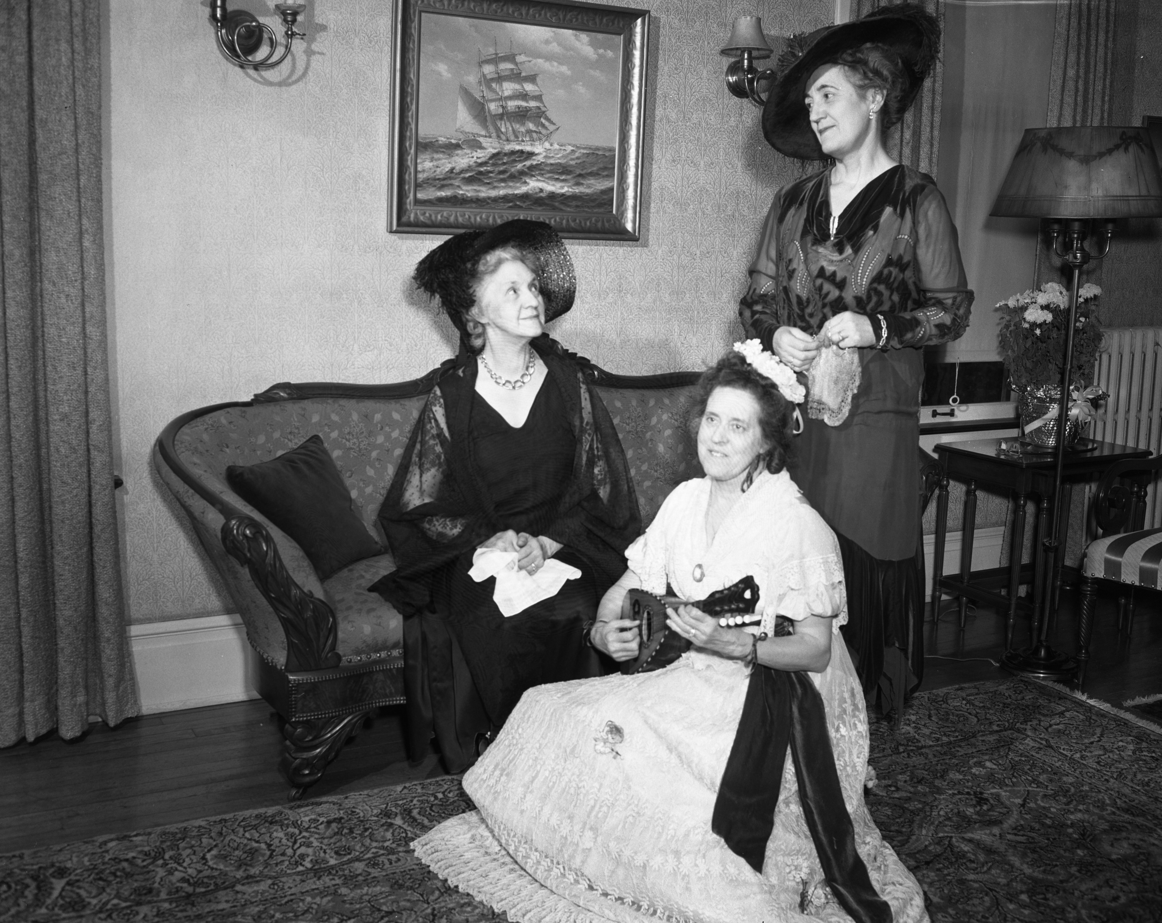 Mrs. Edwin Bragg, Alice Woody, and Mrs. Alfred Lee in Period Costumes, Congregational Church, December 1946 image