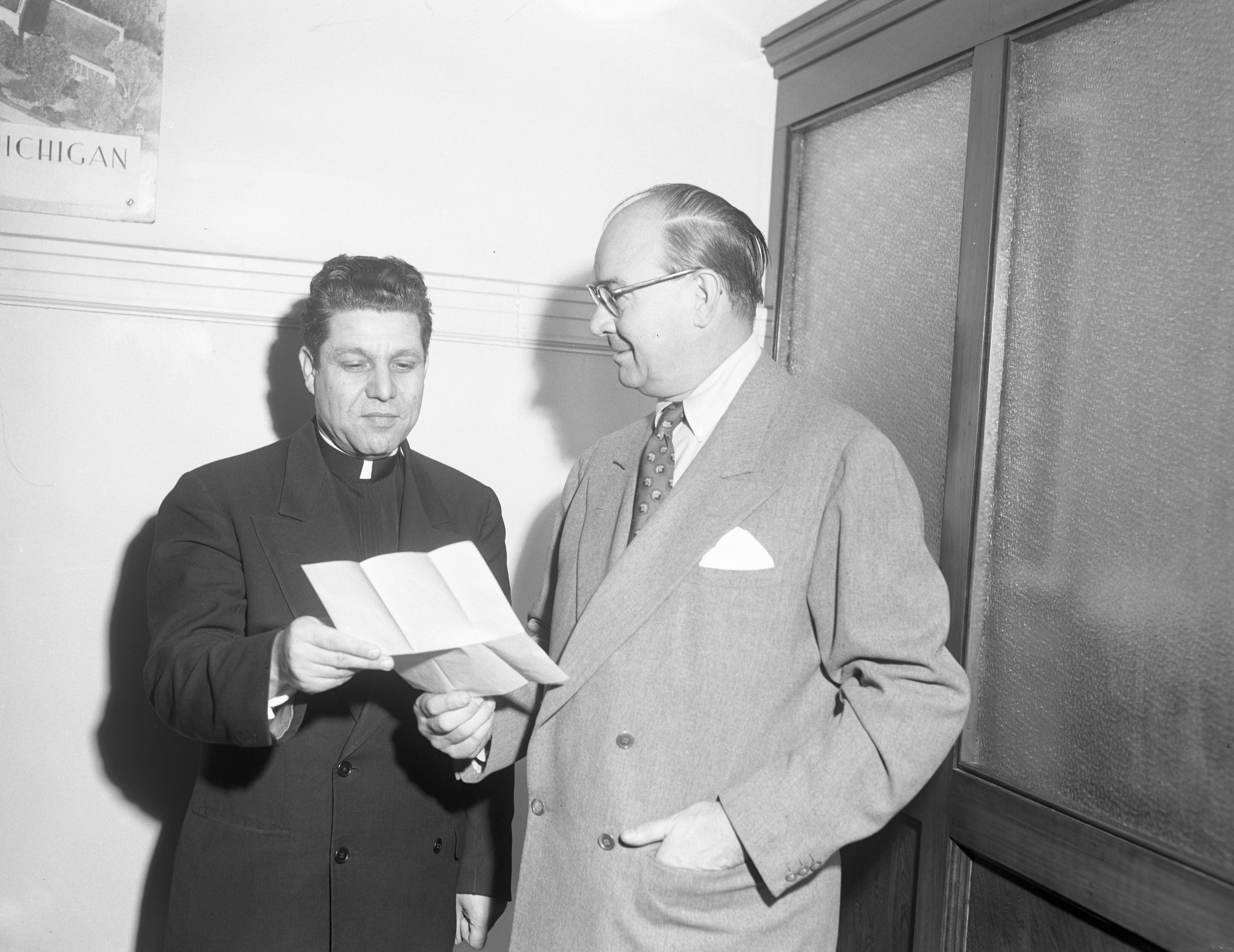 Rev. Lambros Vakalakis and Mayor William E. Brown with Proclamation of Greek Day, March 1952 image