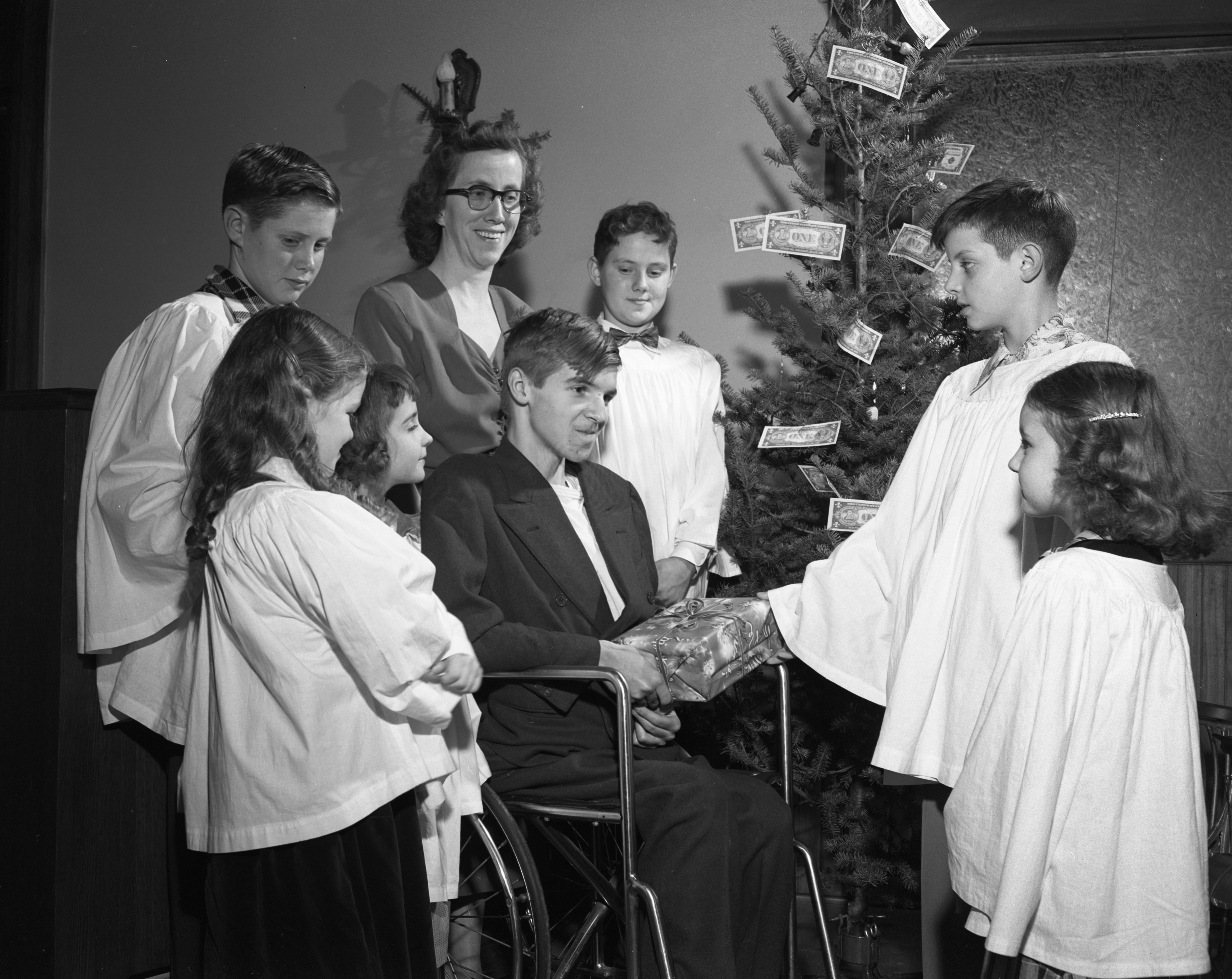 Seventh Day Adventists and Muscular Dystrophy Patient Irvin L. Bingham, December 1952 image