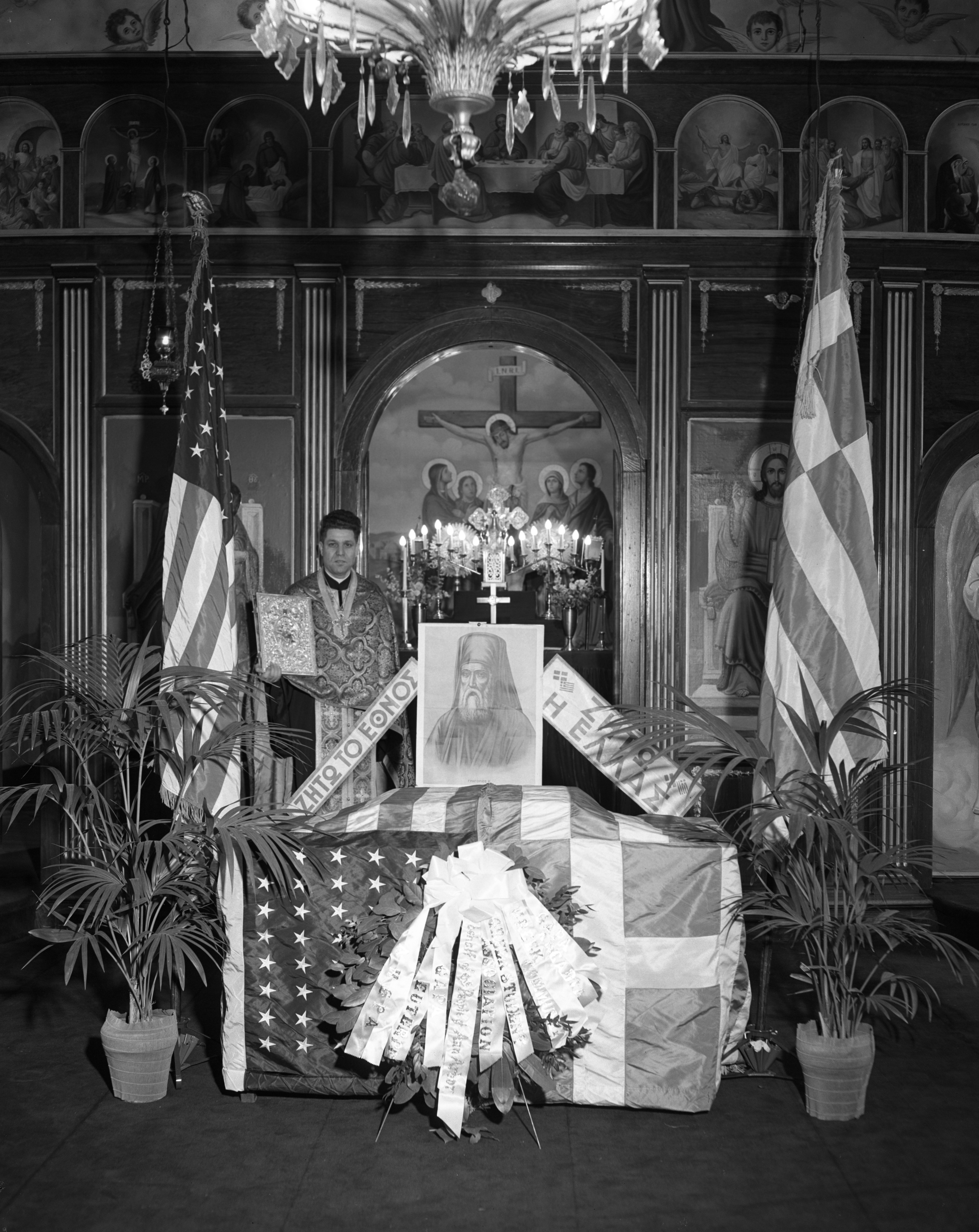 St. Nicholas Church's Greek Independence Day Decorations, March 1953 image