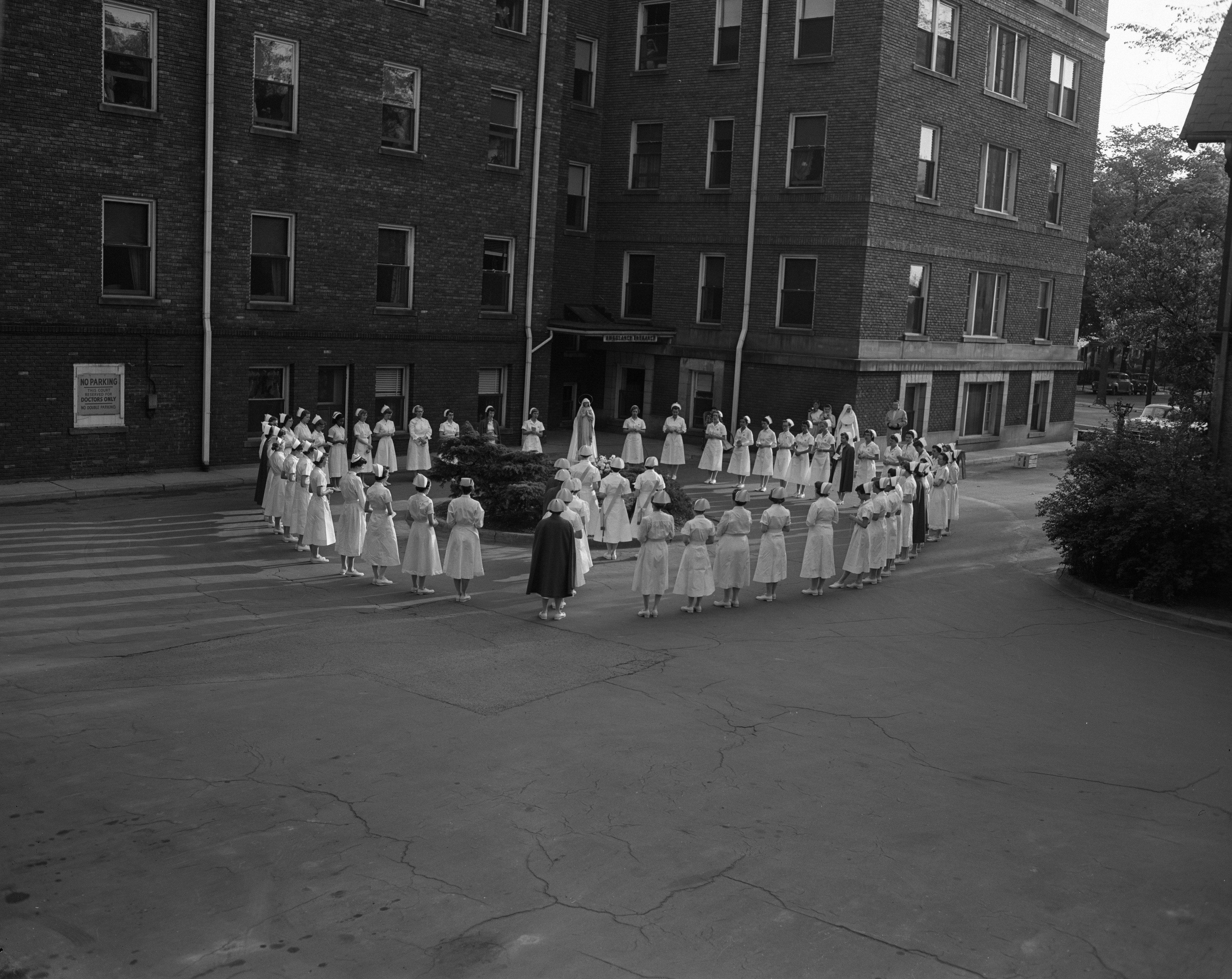 Nurses Crown Statue of Blessed Virgin Mary, St  Joseph