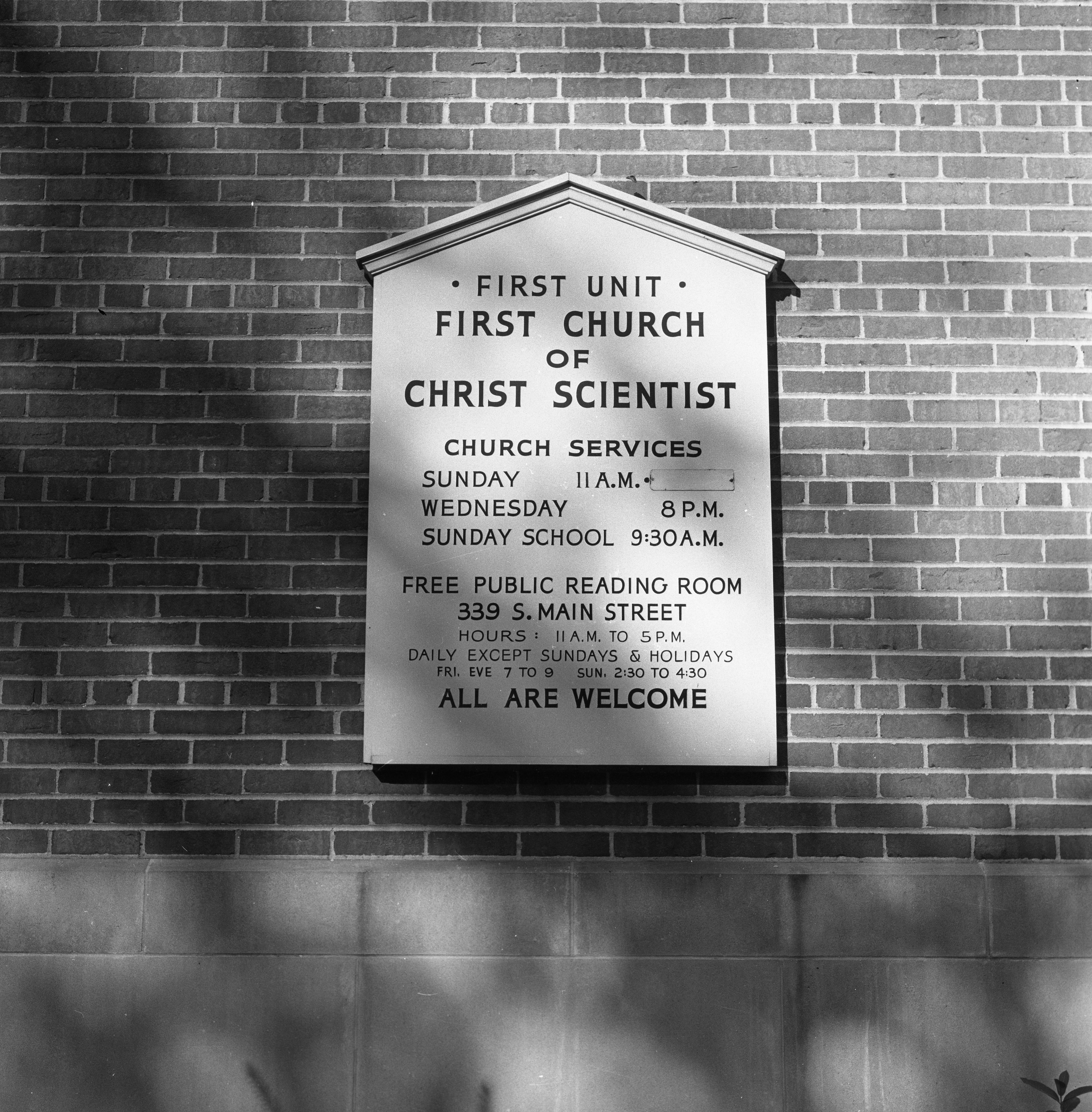 First Church of Christ Scientist Sign, September 1955 image