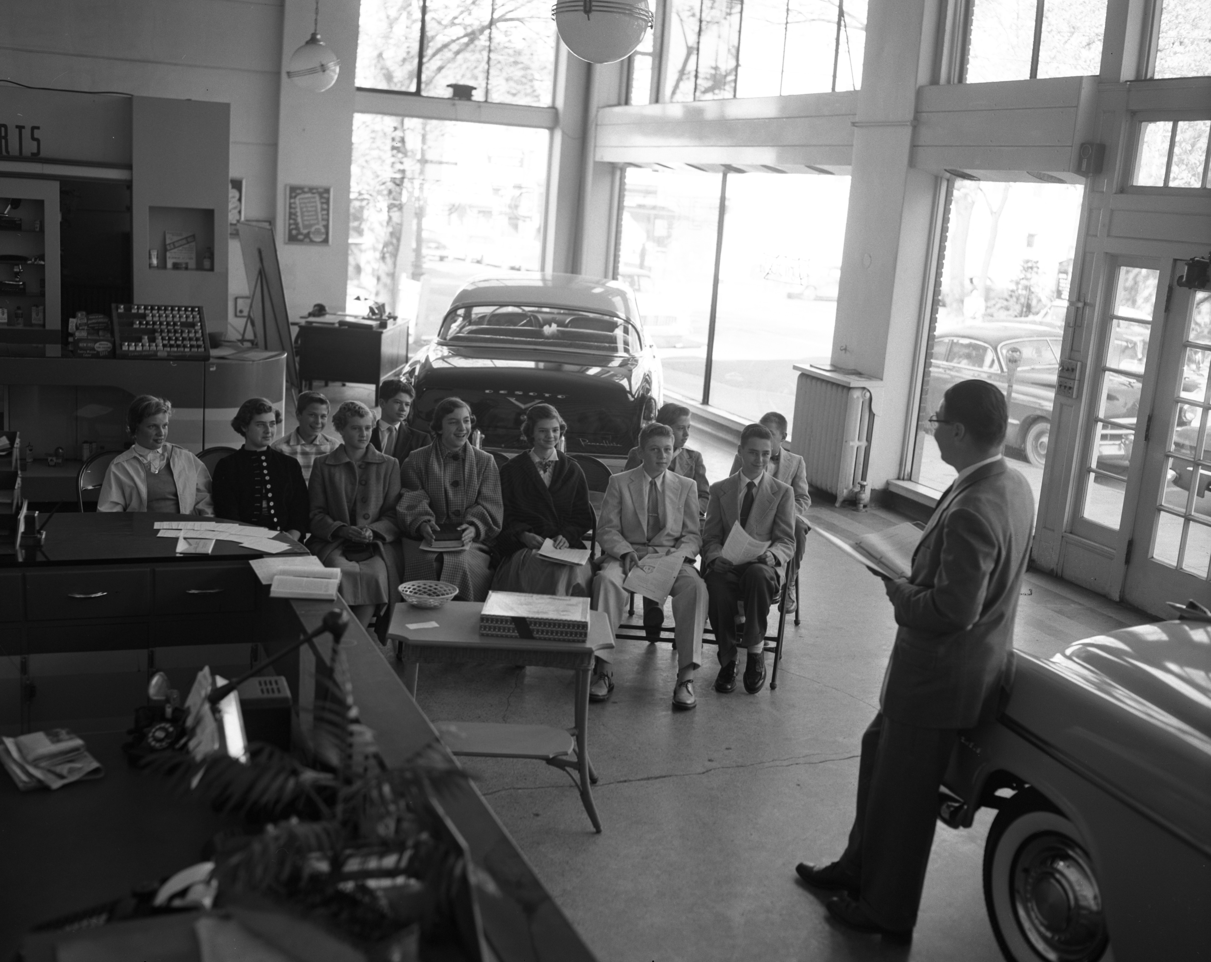Zion Lutheran Church Sunday School Class Held In Auto Show Room, October 1955 image