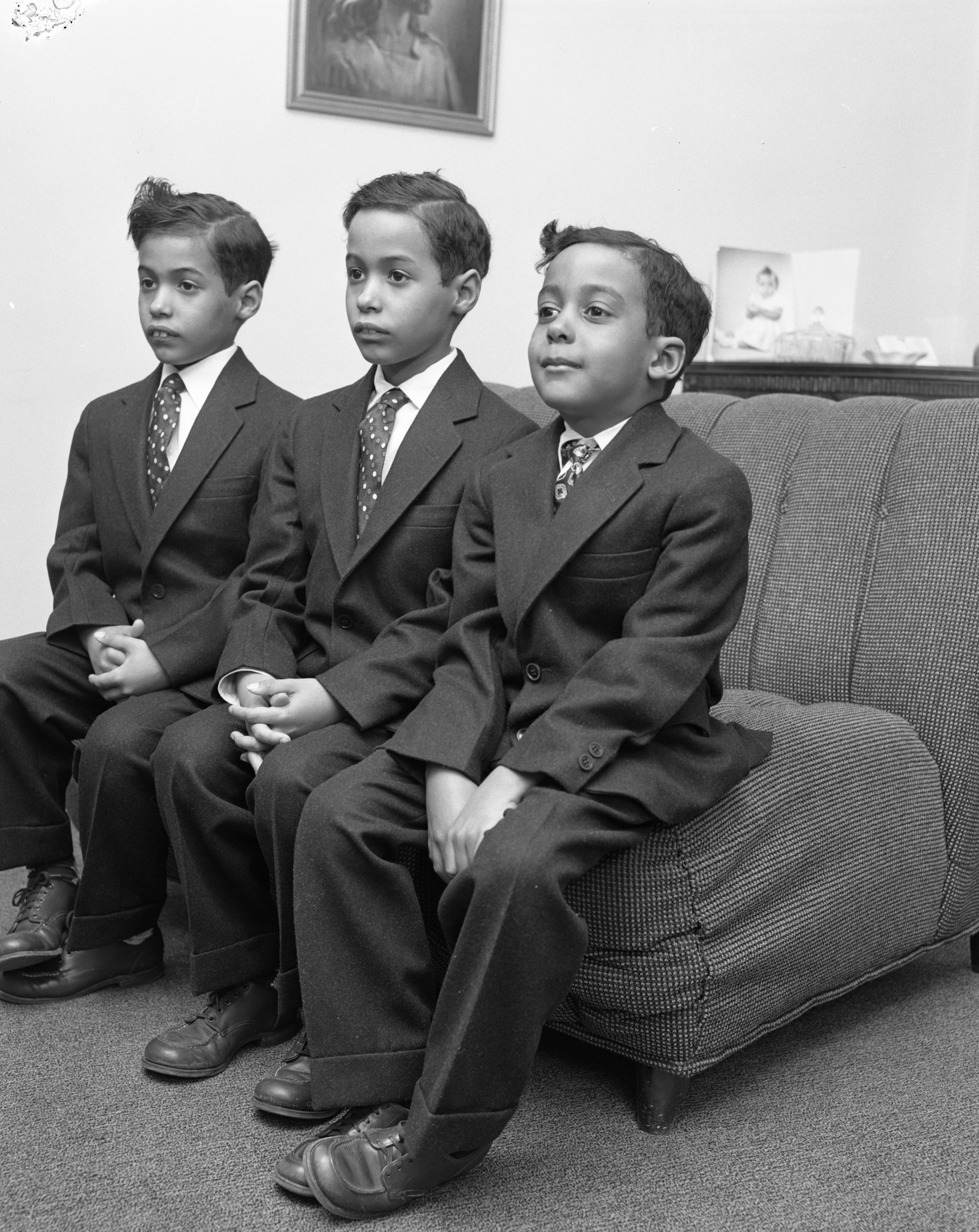 Larry Steven Parks, Lawrence Starling Parks, and Leo Stanley Parks Dressed for Church, March 1956 image