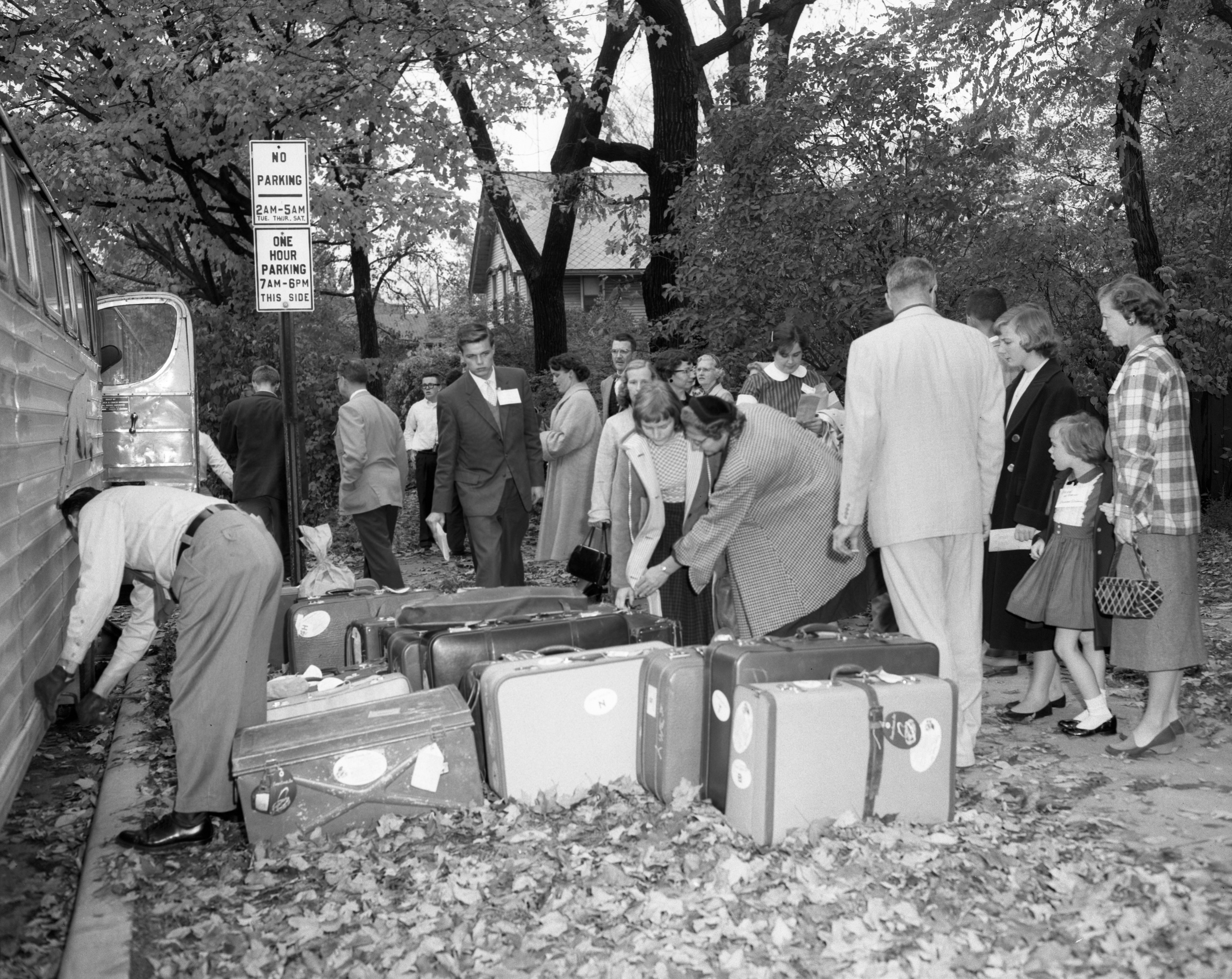 Exchange Students Arrive at First Baptist Church, October 1957 image