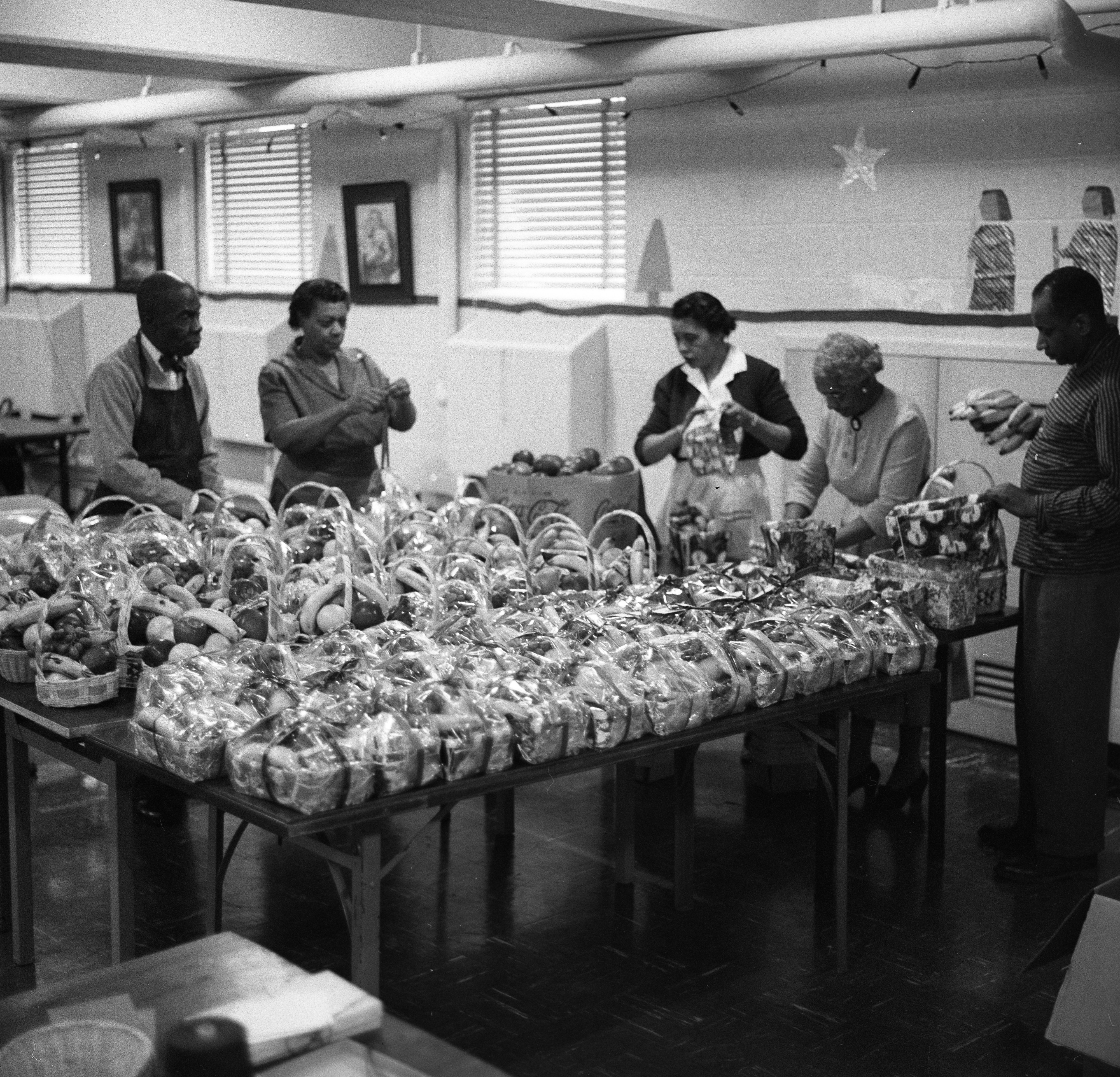 Filling Holiday Fruit Baskets at Second Baptist Church, December 1957 image