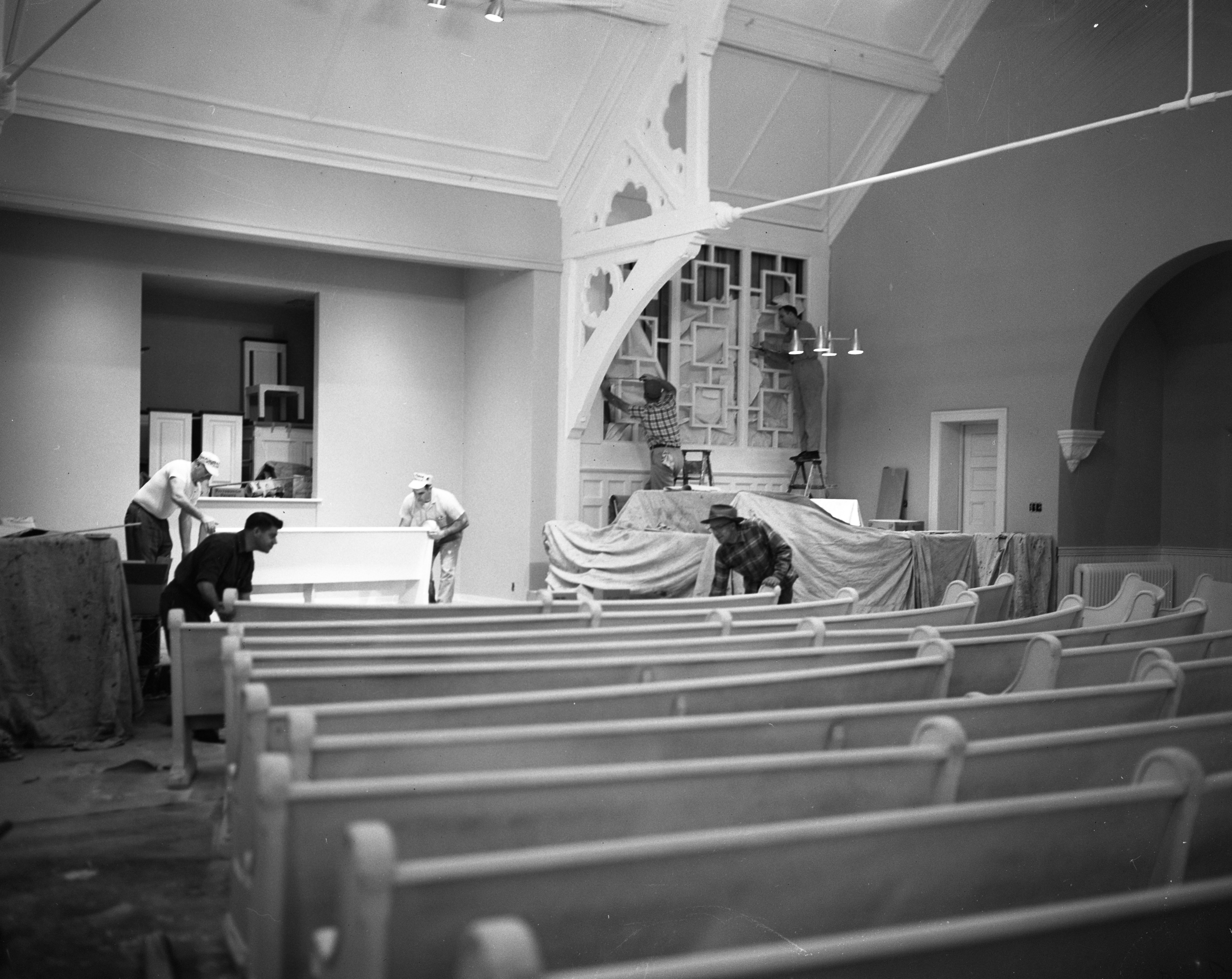 Members Help Remodel Interior of Memorial Christian Church, March 1959 image