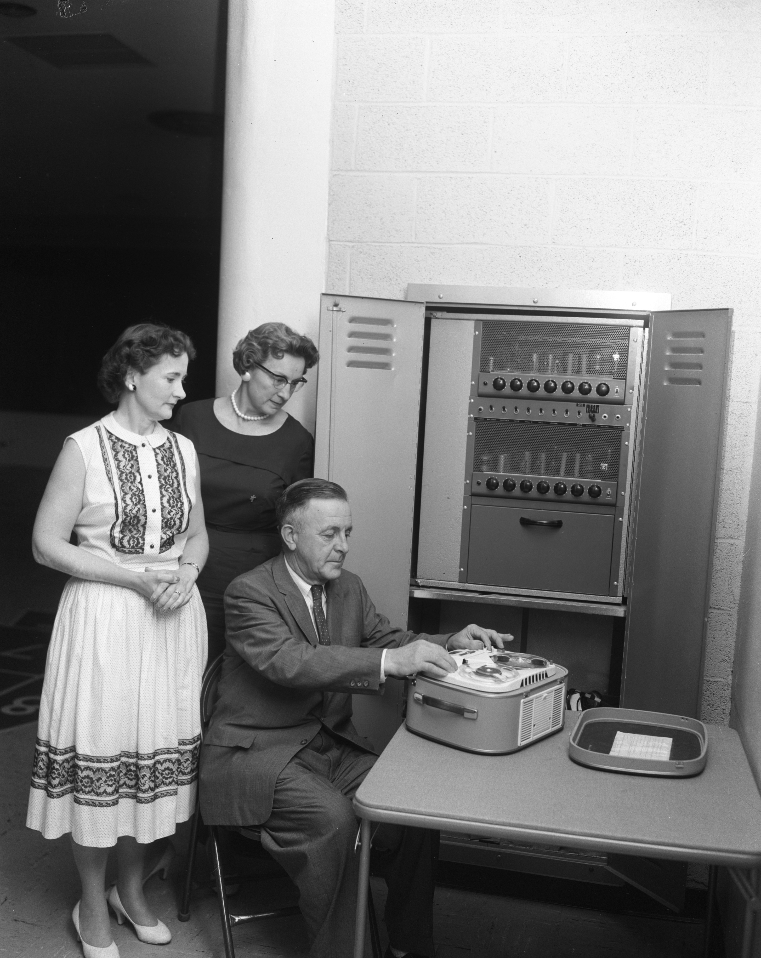 Erwin Schenk, Mrs. Raymond Helber, and Mrs. William Strickland Record Zion Lutheran Church Sermons, August 1959 image