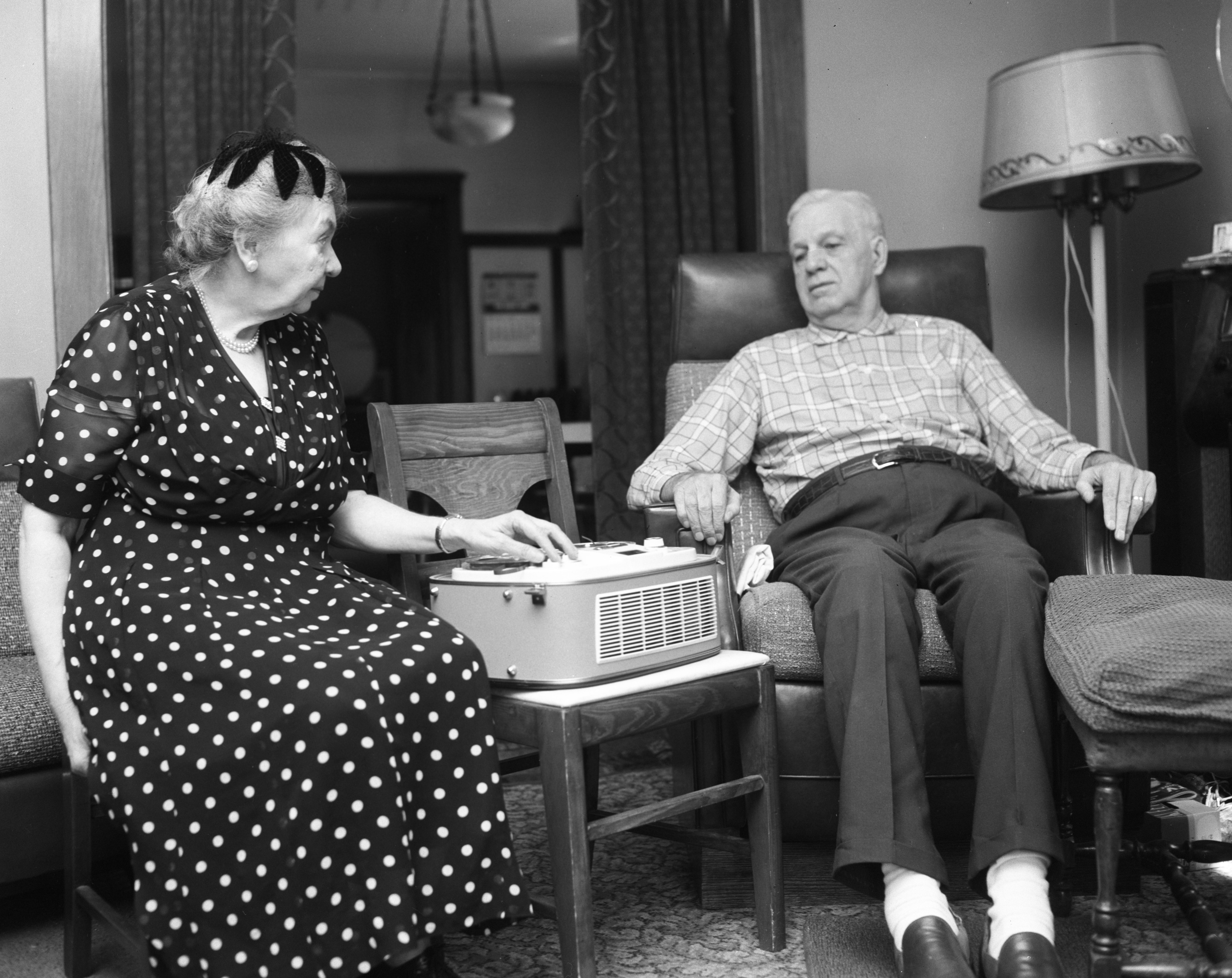 Frederick Sodt and Alma Josenhans Listen to Recorded Zion Lutheran Church Sermon, August 1959 image