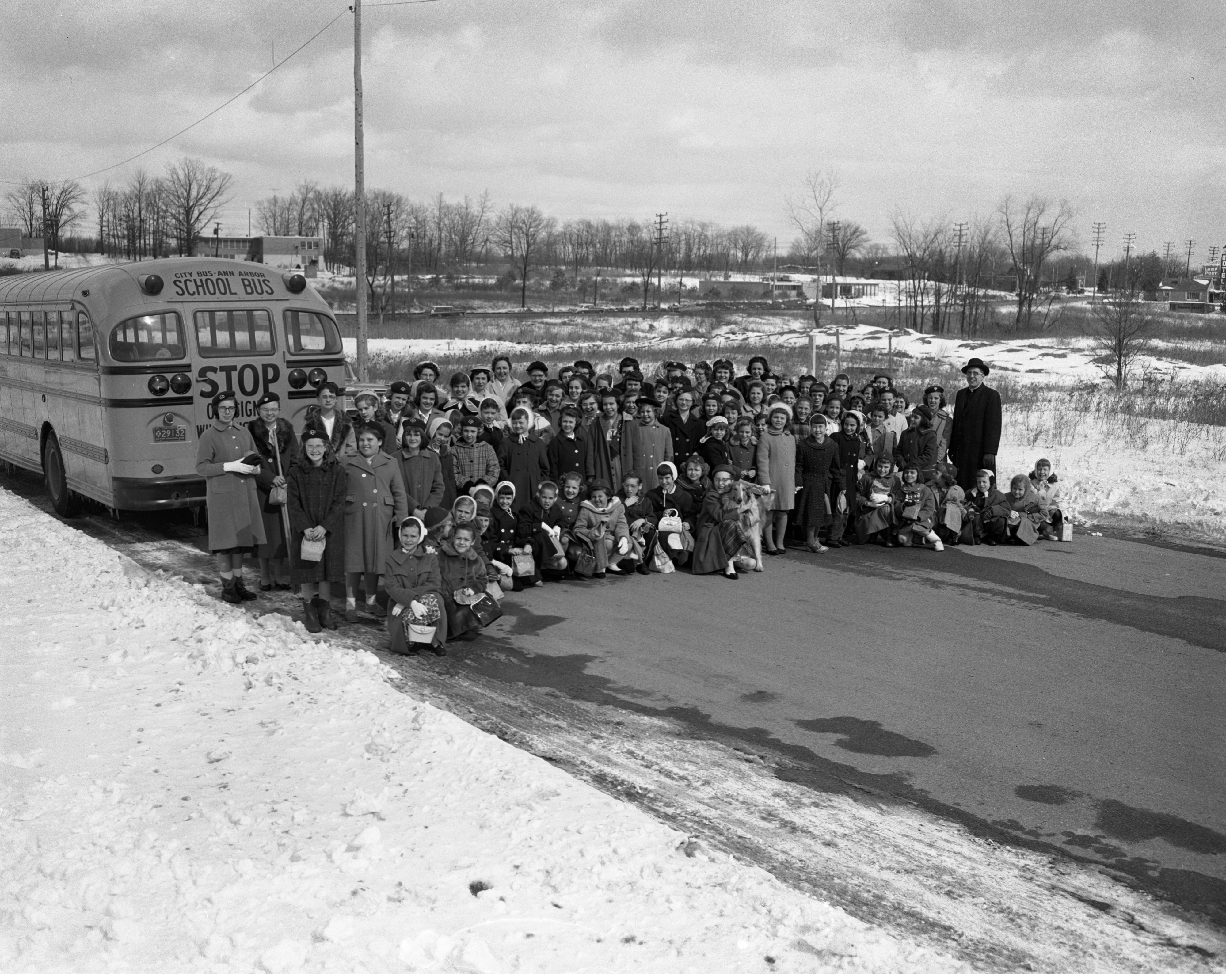 St. Francis Brownie Troop Goes to University of Detroit for Mass, March 1960 image