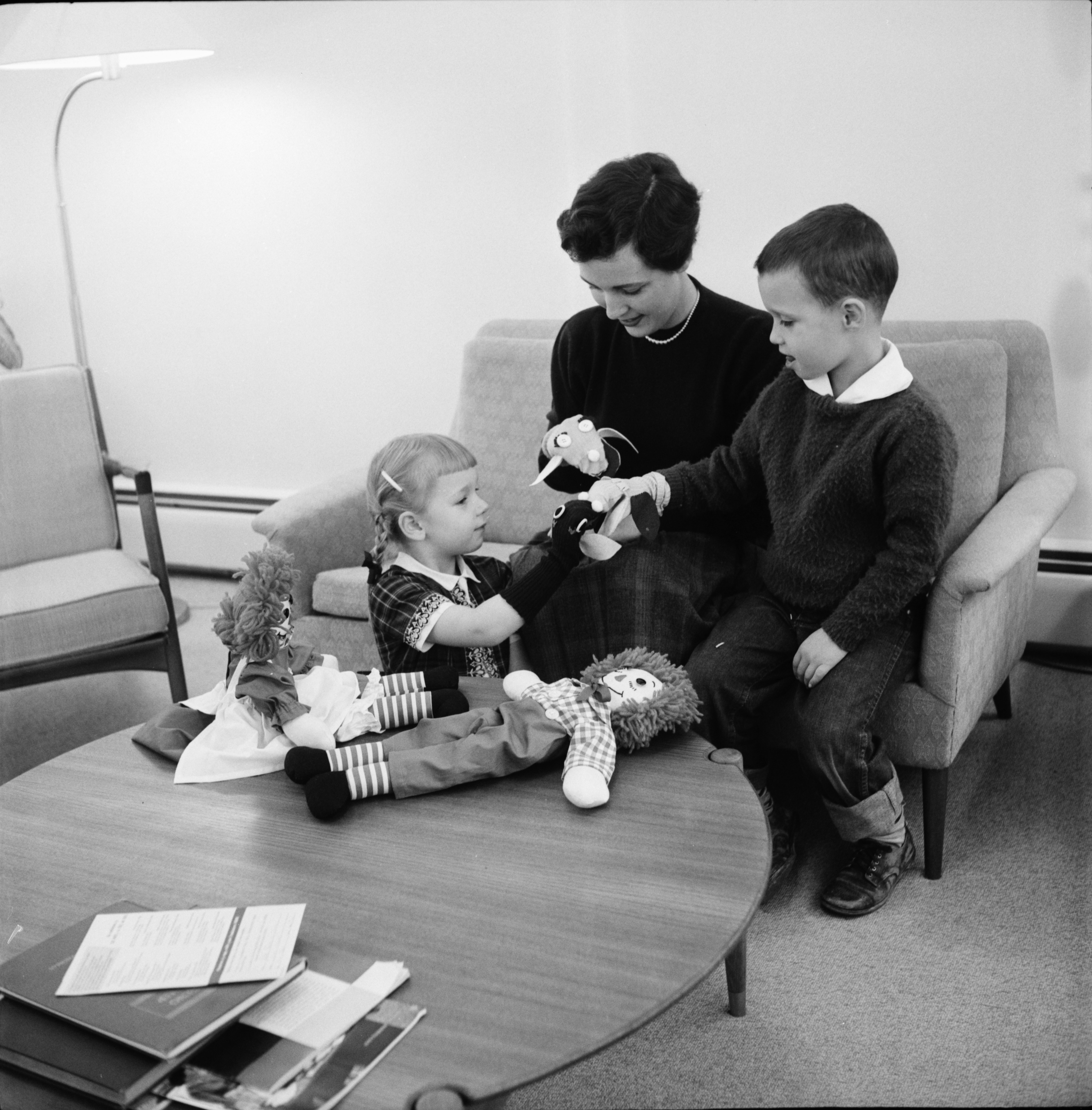 Sally Lamkin, Her Son David Lambin and Joanne English with Puppets for the West Side Methodist Church Bazaar, November 1960 image