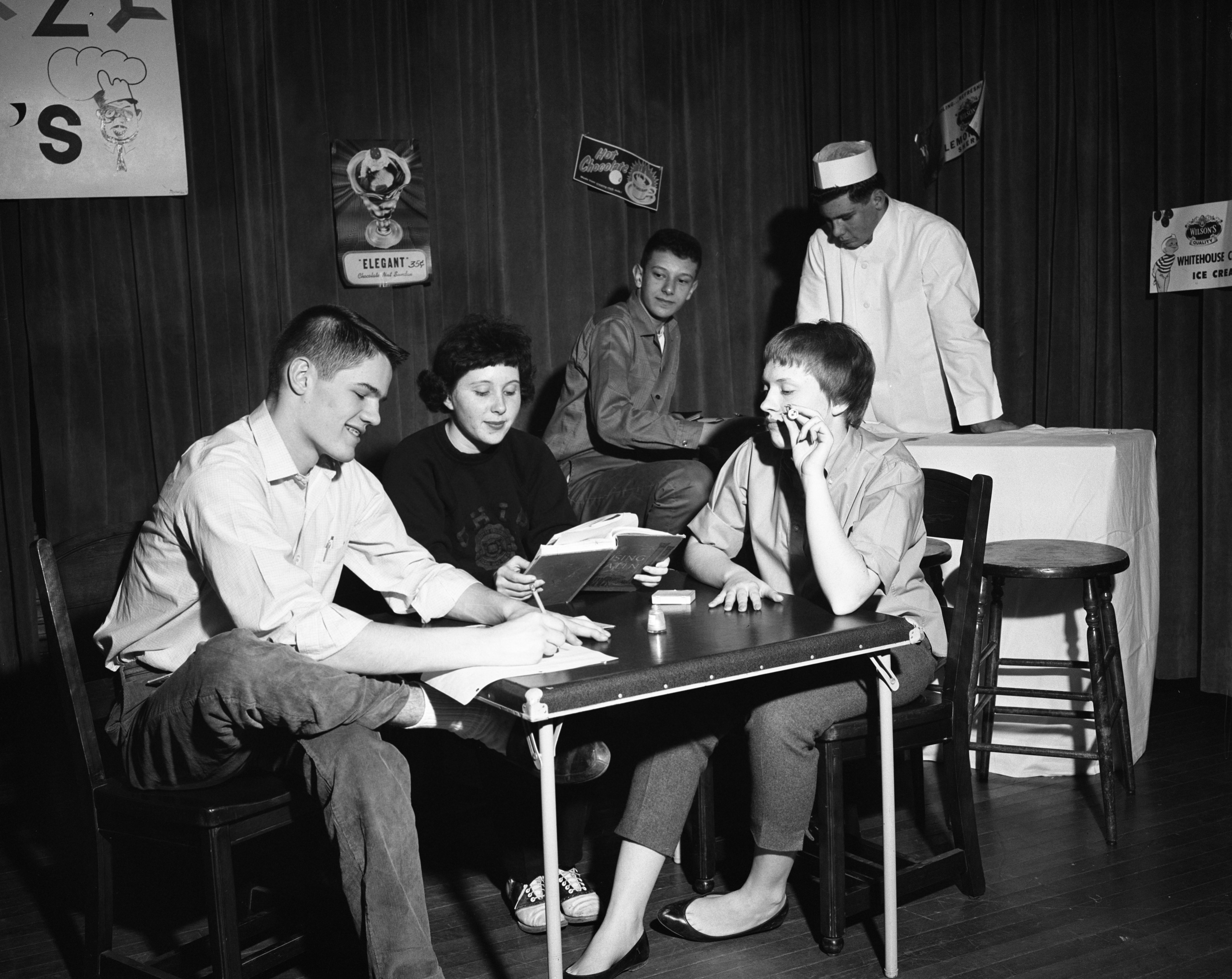 Youth Department of Ann Arbor-Washtenaw Council of Churches Rehearses Play, February 1961 image