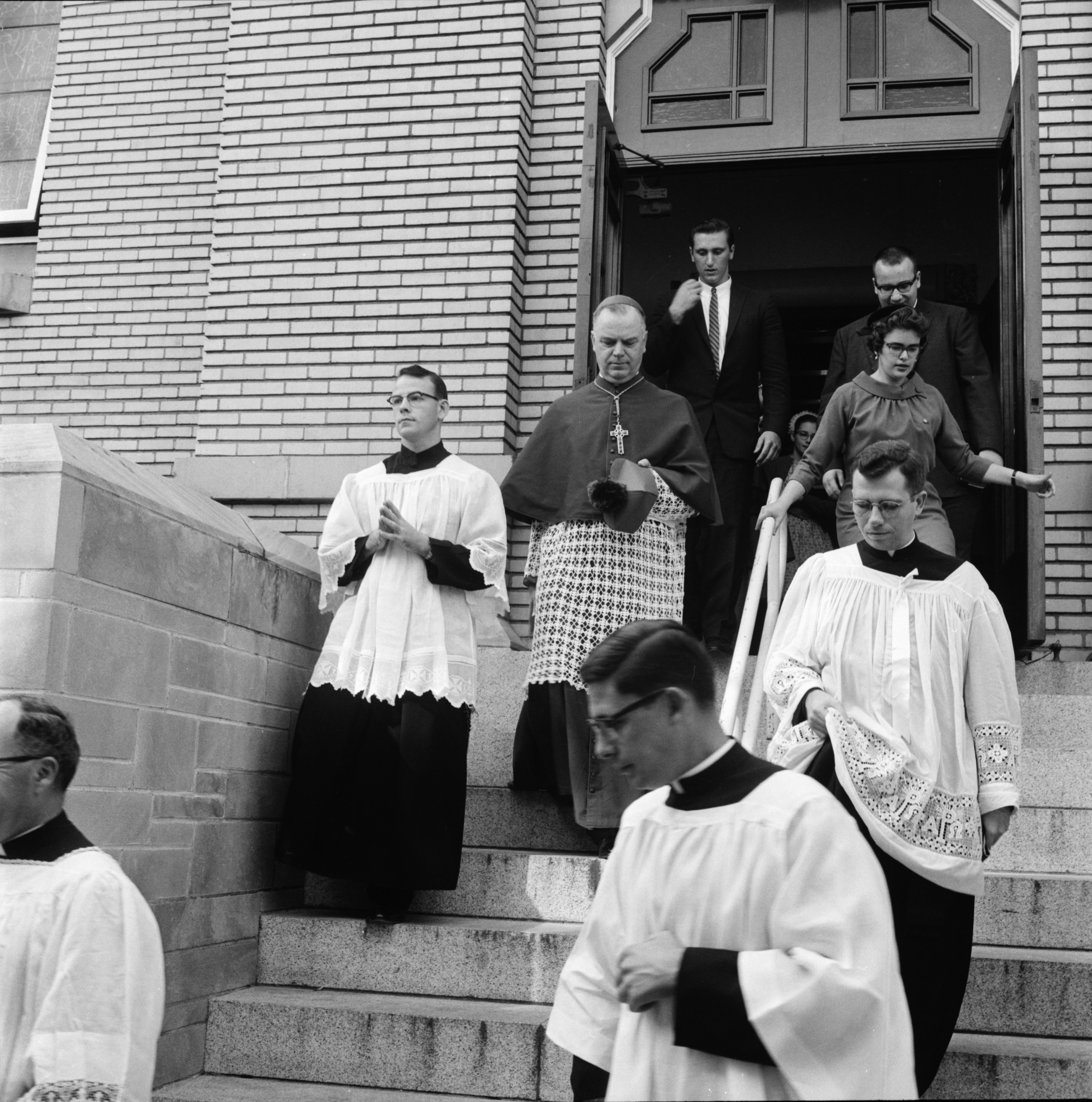 Archbishop John F. Dearden Visits St. Mary's and Installs Newman Club Officers, October 1961 image