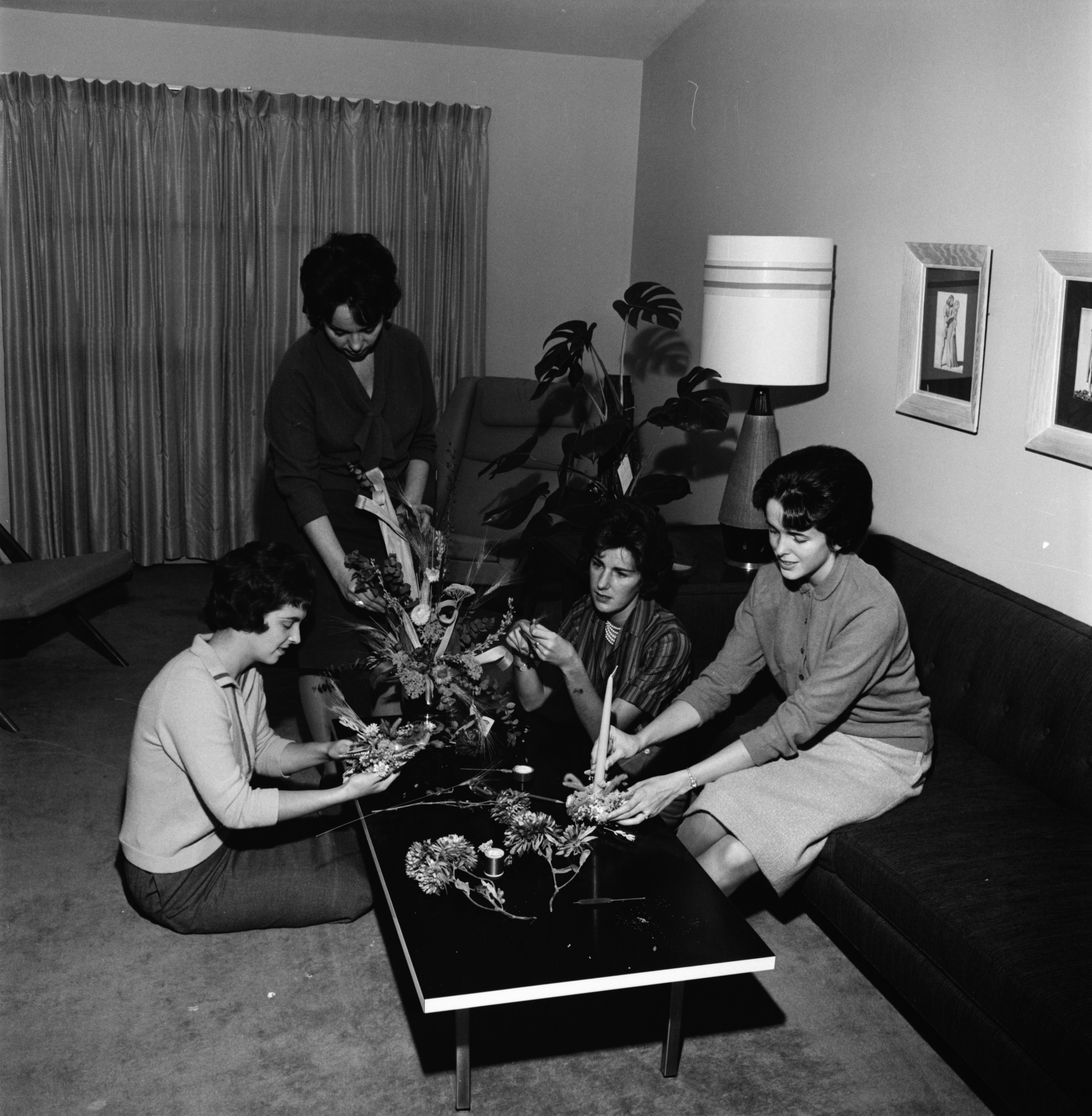 St. Francis Altar Society Prepare for Telephone Bridge Card Party, November 1961 image