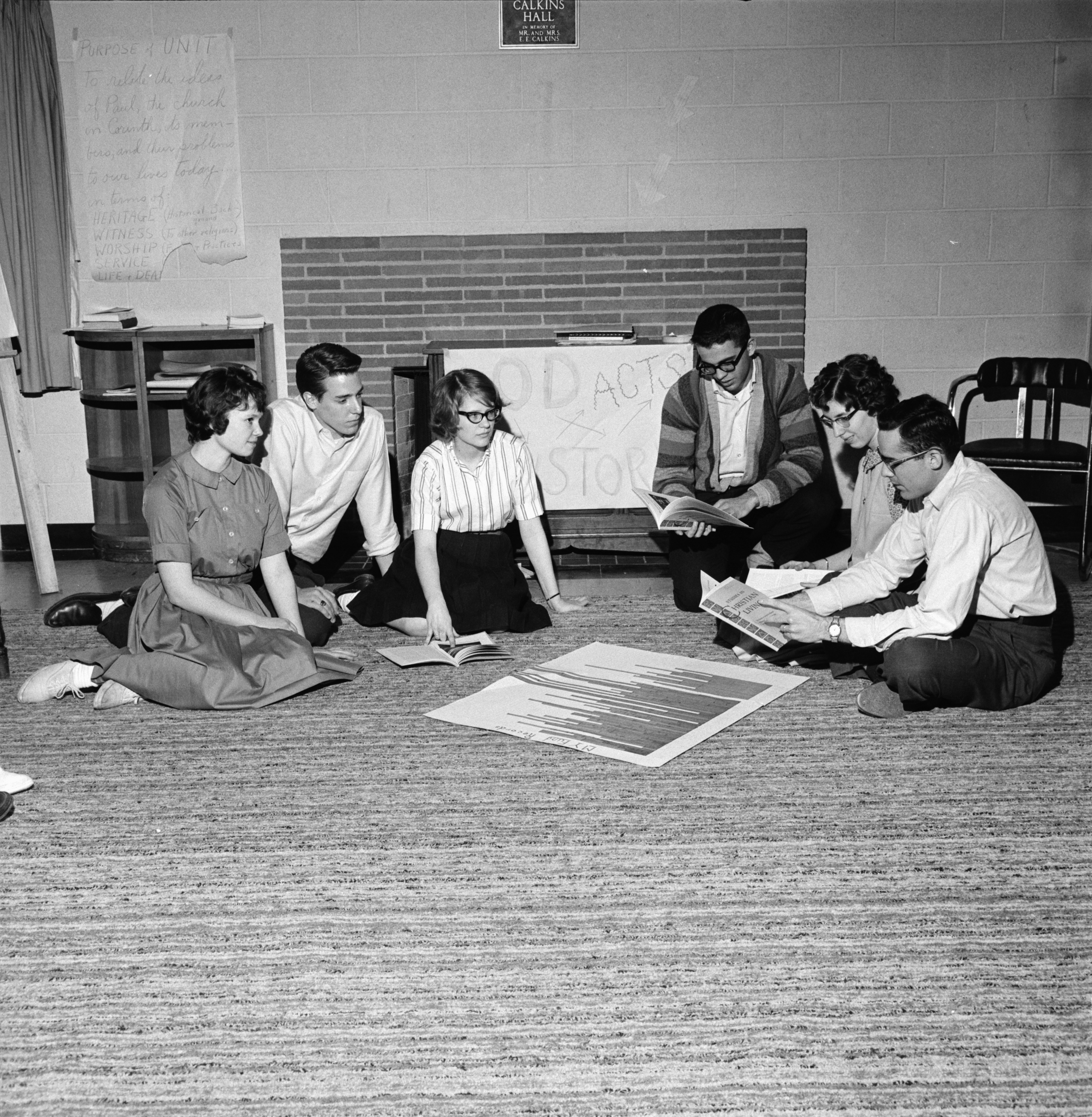 First Methodist Church Senior Youth Group Plans Movie, April 1963 image