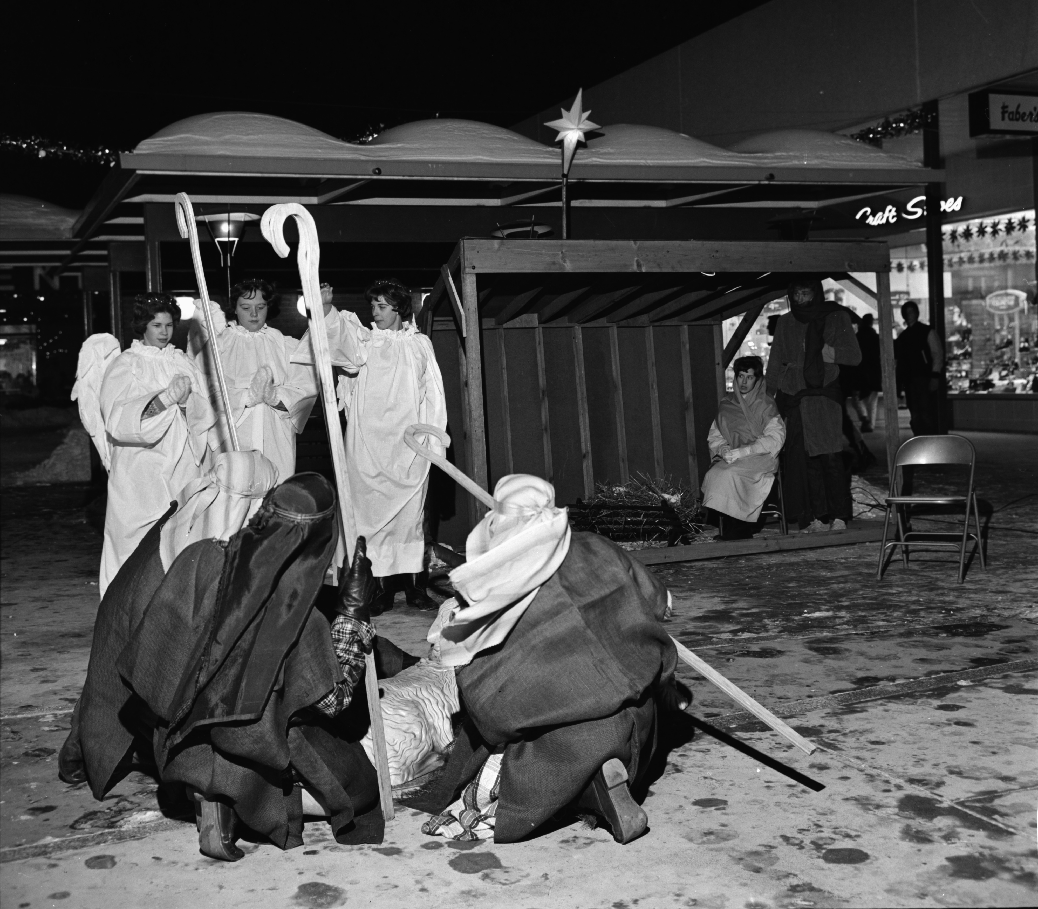 St. Paul's Lutheran Church Youth Group Stages Living Nativity Scene at Arborland, December 1963 image