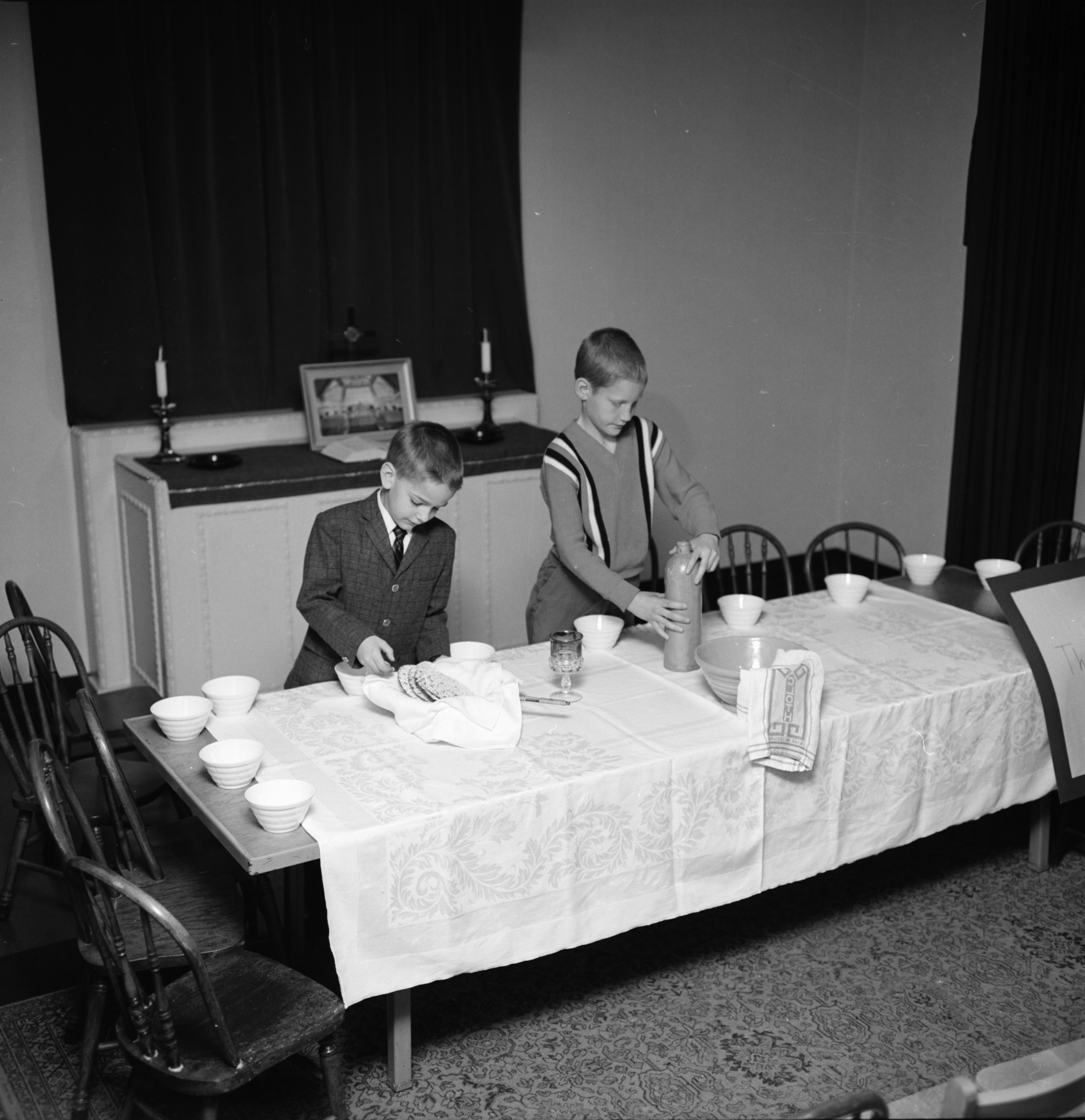Children at First Congregational Church Set Up Displays, March 1964 image