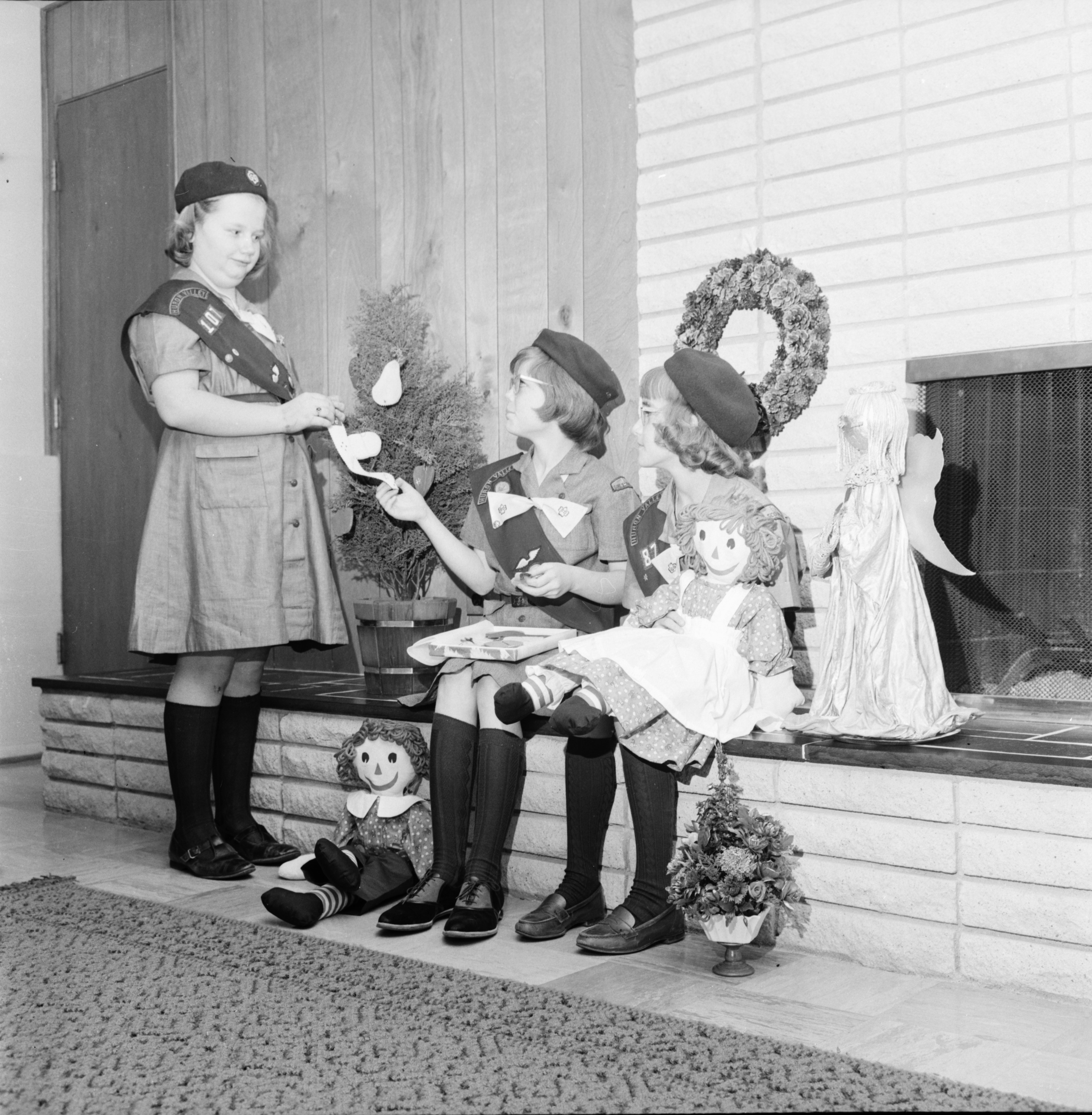 Girl Scouts Prepare For St. Francis Church Bazaar, November 1966 image