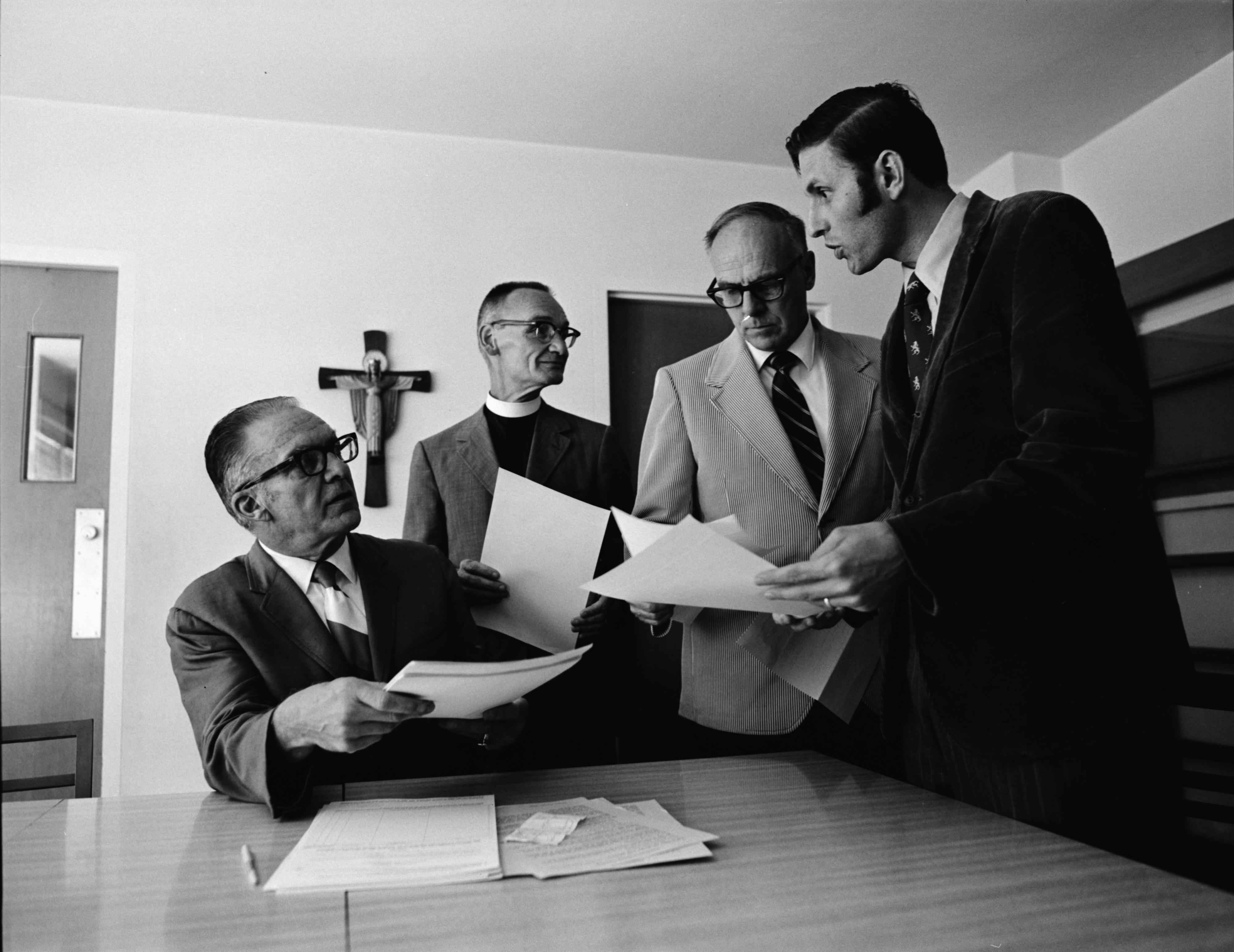 Ann Arbor Clergymen Discuss Petition With Senator Gilbert Bursley, September 1971 image