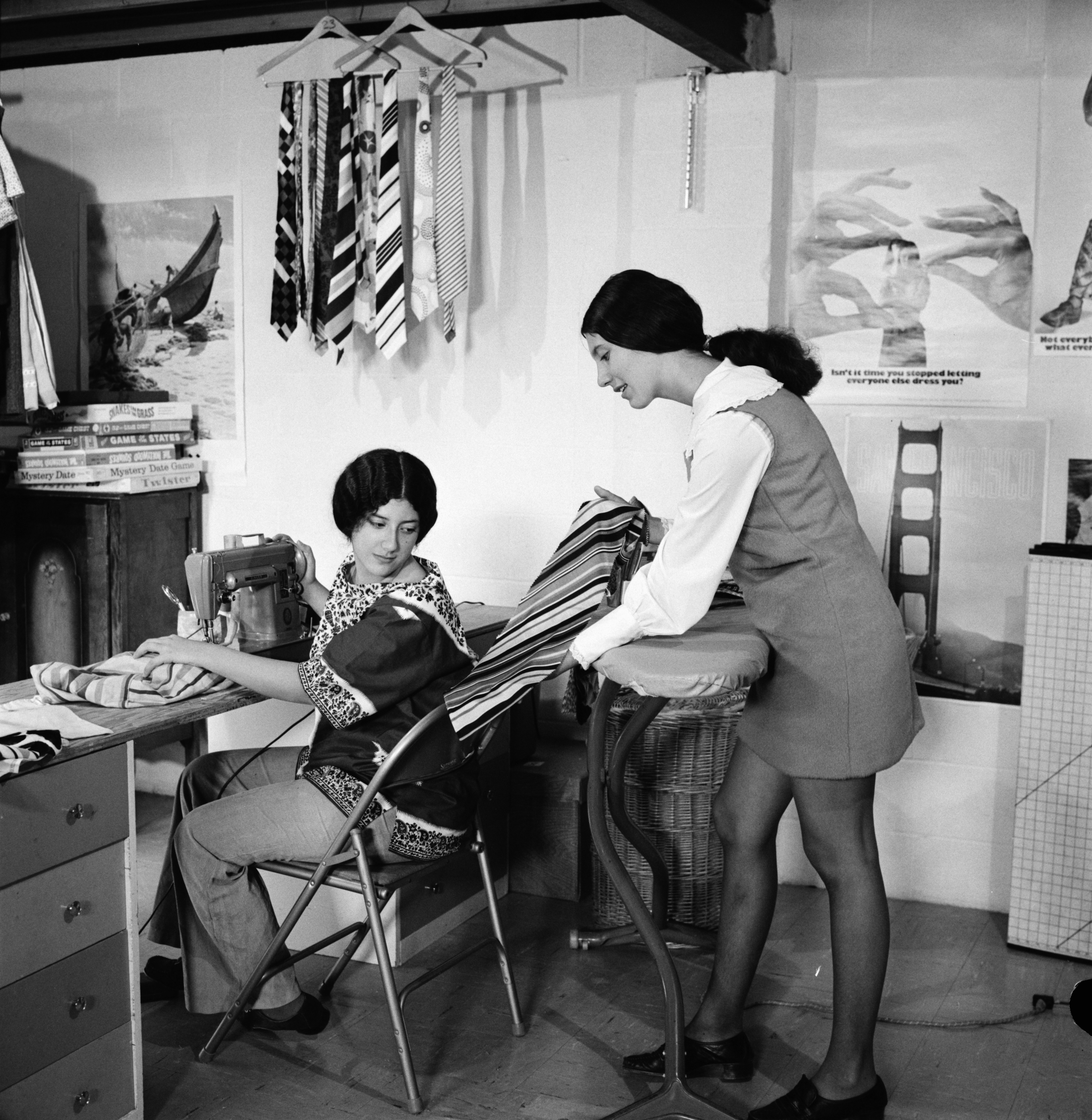 Elizabeth and Rose Marie Cohen Sew Ties for Beth Israel Sisterhood Bazaar, October 1971 image