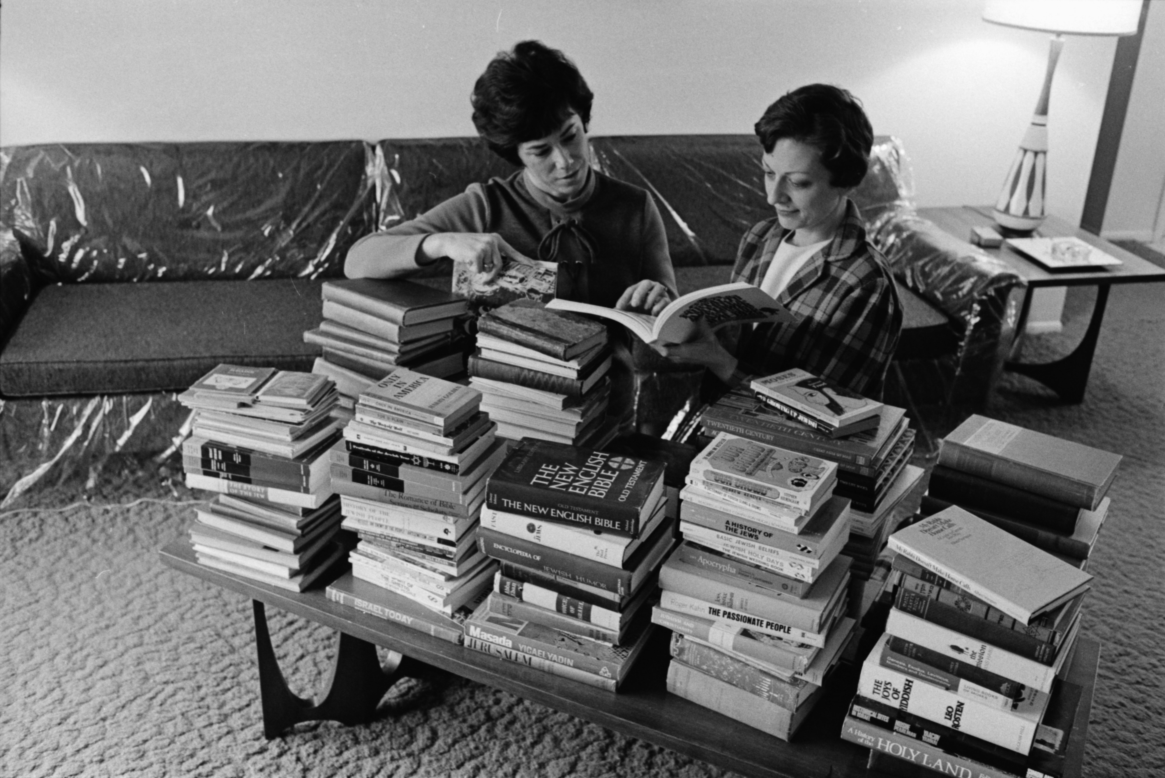 Cecile Chusid and Malverne Reinhart Organize Books for Temple Beth Emeth's Jewish Book Fair, March 1972 image