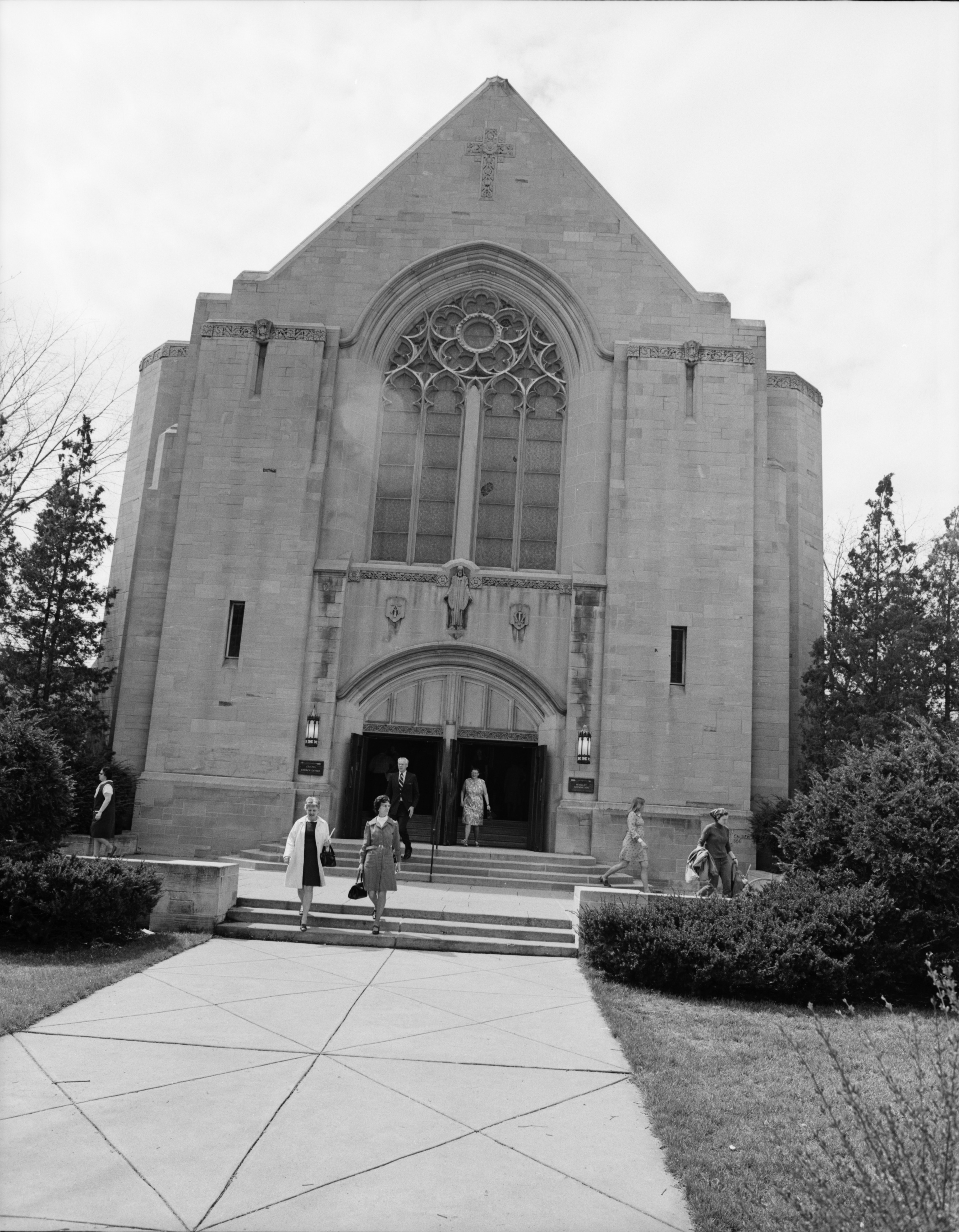 Worshippers Leave First United Methodist Church After Good Friday Services, April 1973 image
