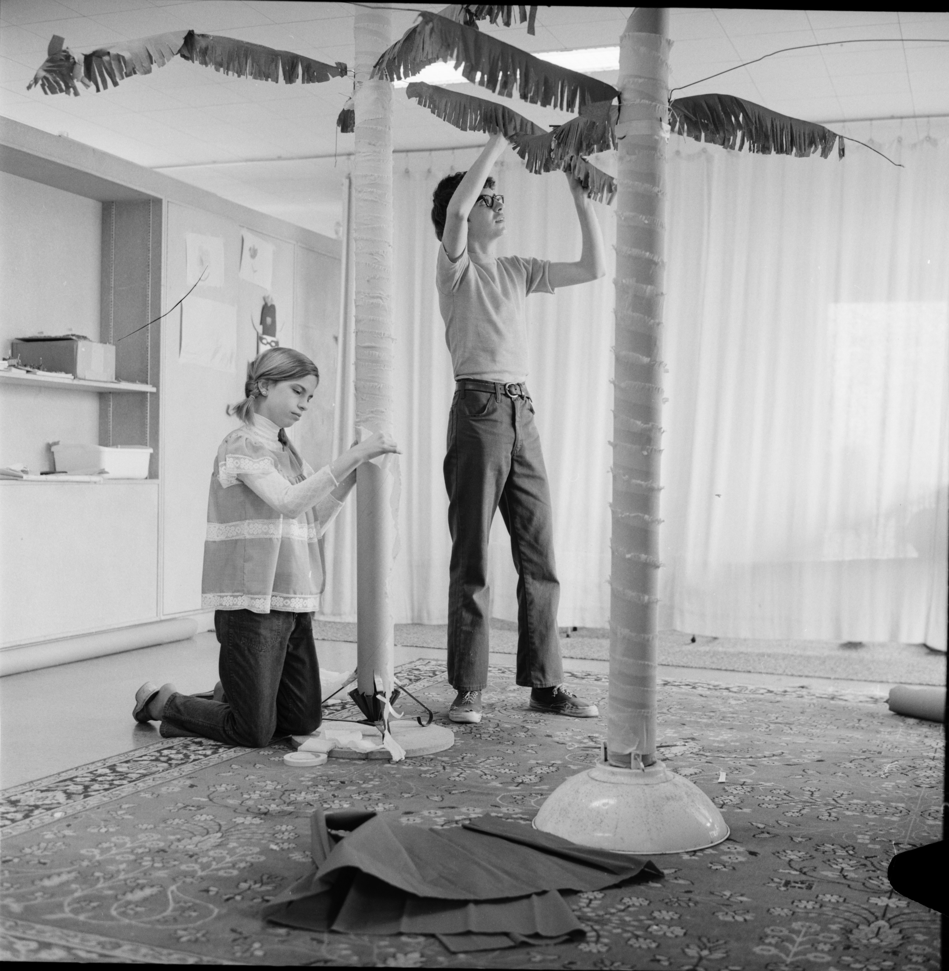Church of the Good Shepherd Choir Members Making Palm Trees, April 1973 image