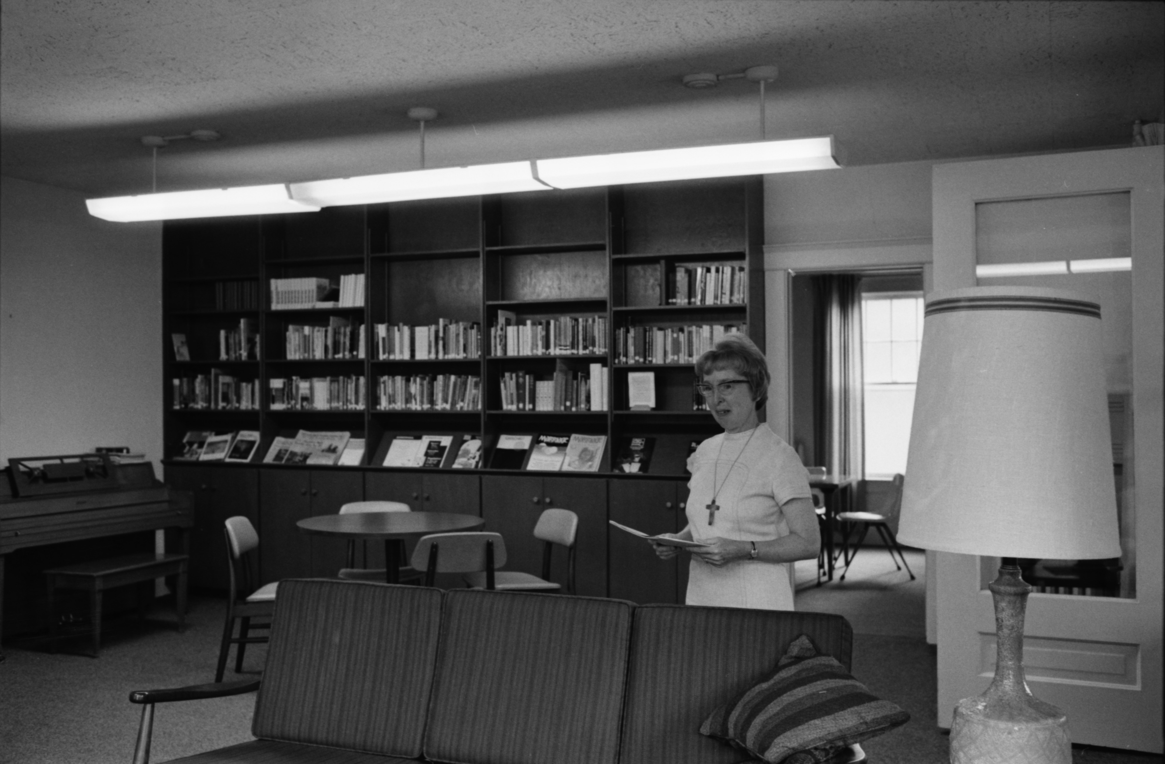 Sister Dolora Neumaier in Library of St. Thomas Parish Center, August 1974 image