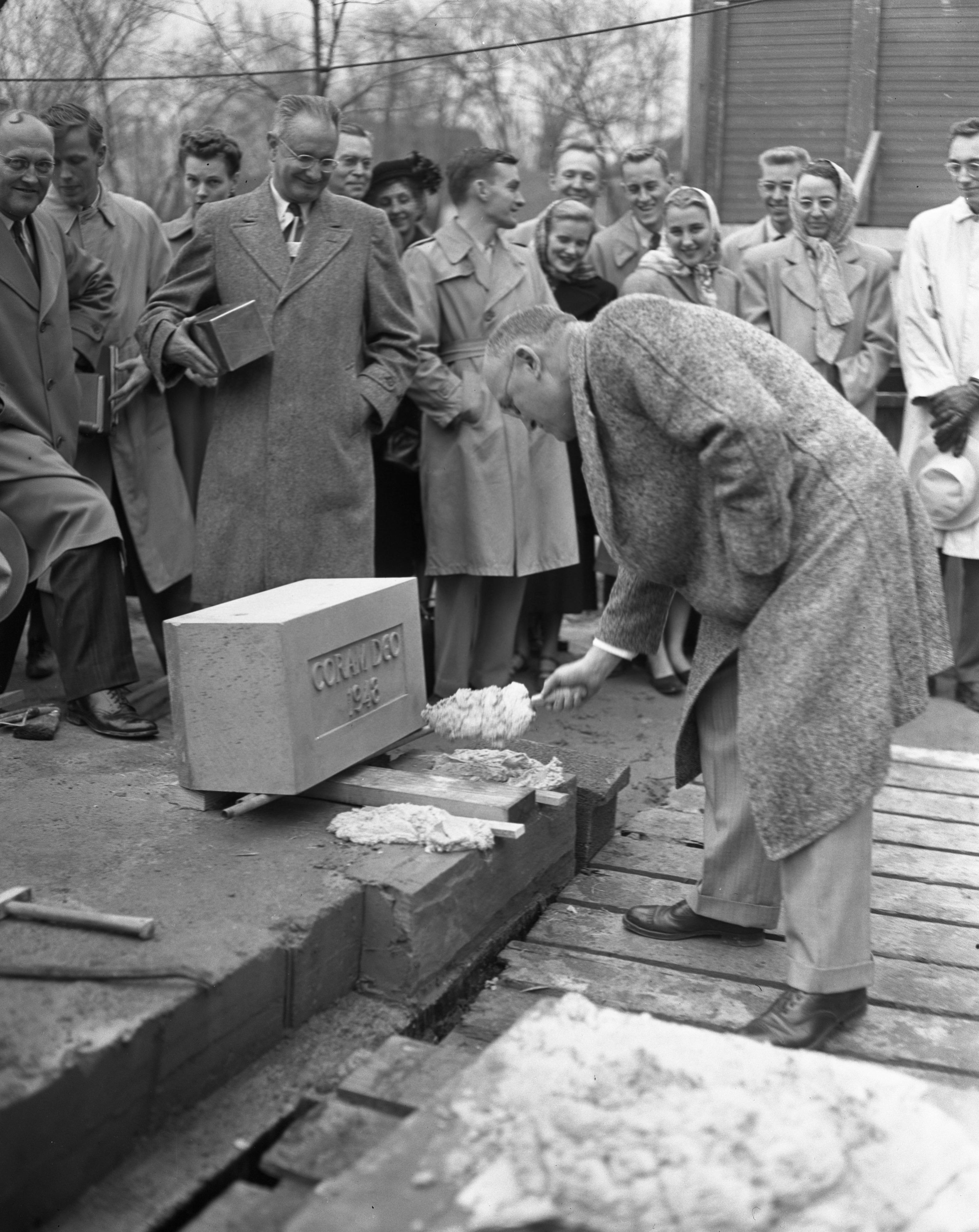 Leonard Verduin Laying Cornerstone for Christian Reformed Church Students Evangelical Chapel, November 1948 image
