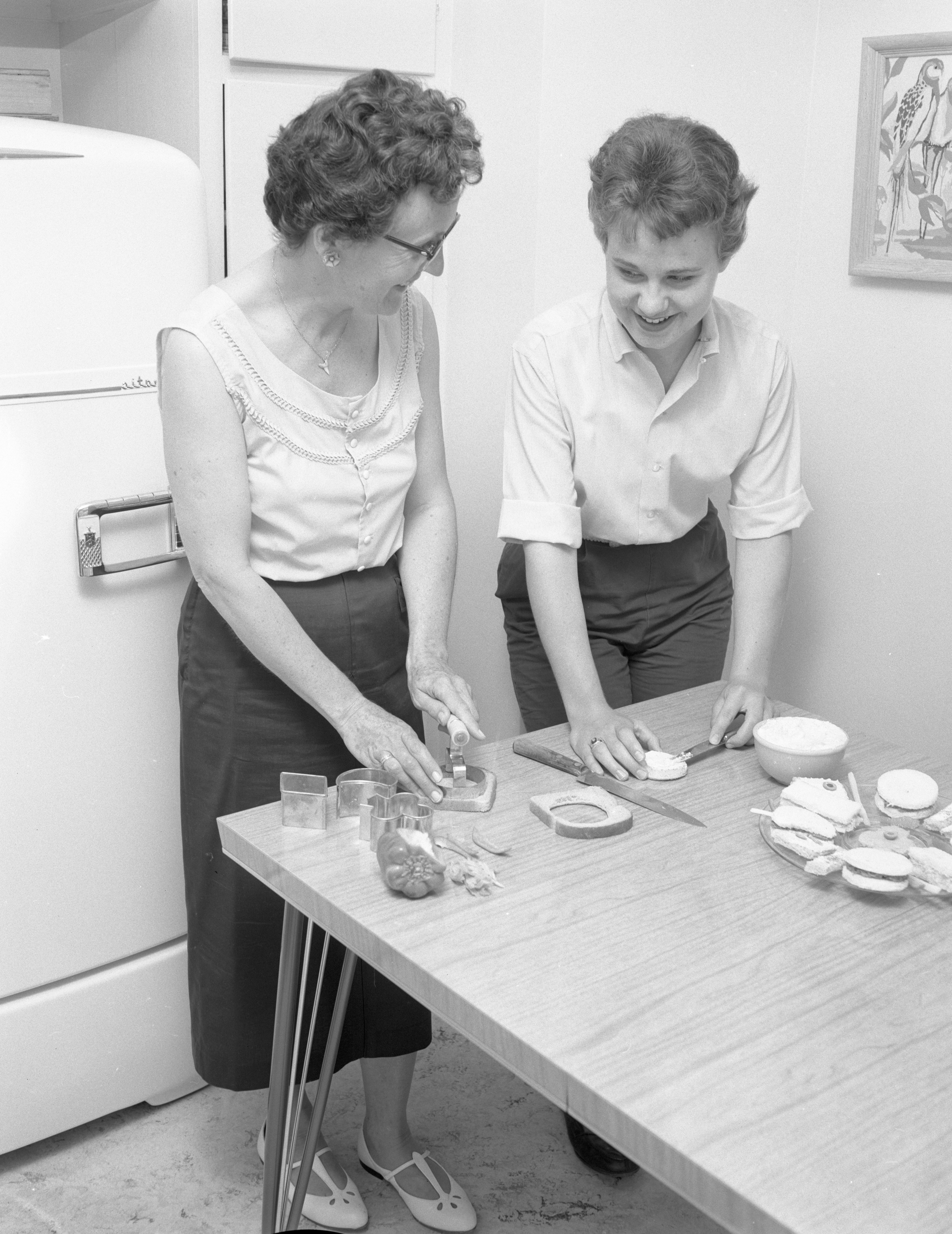 Rose & Claudia Eckhoff Make Party Sandwiches, June 1959 image