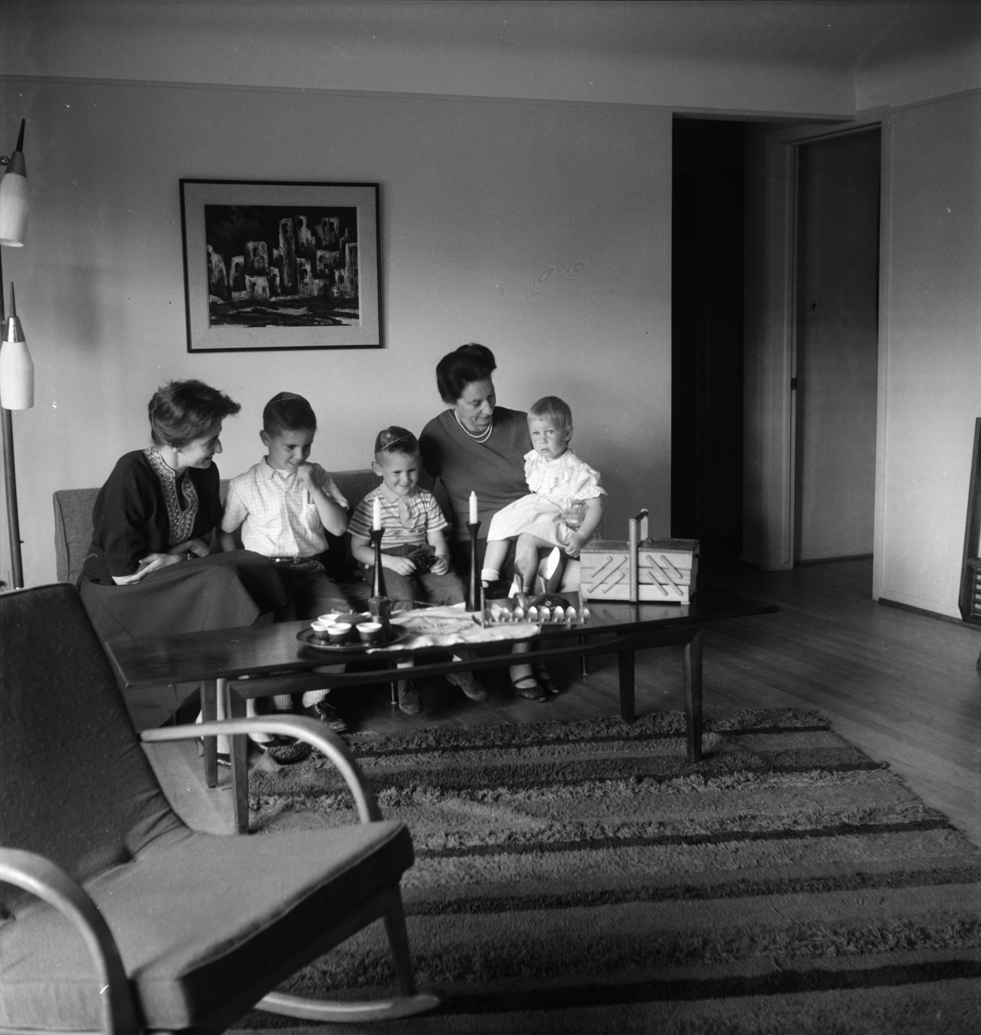 Goldstein Children Talk With Grandmother From Jerusalem, May 1963 image