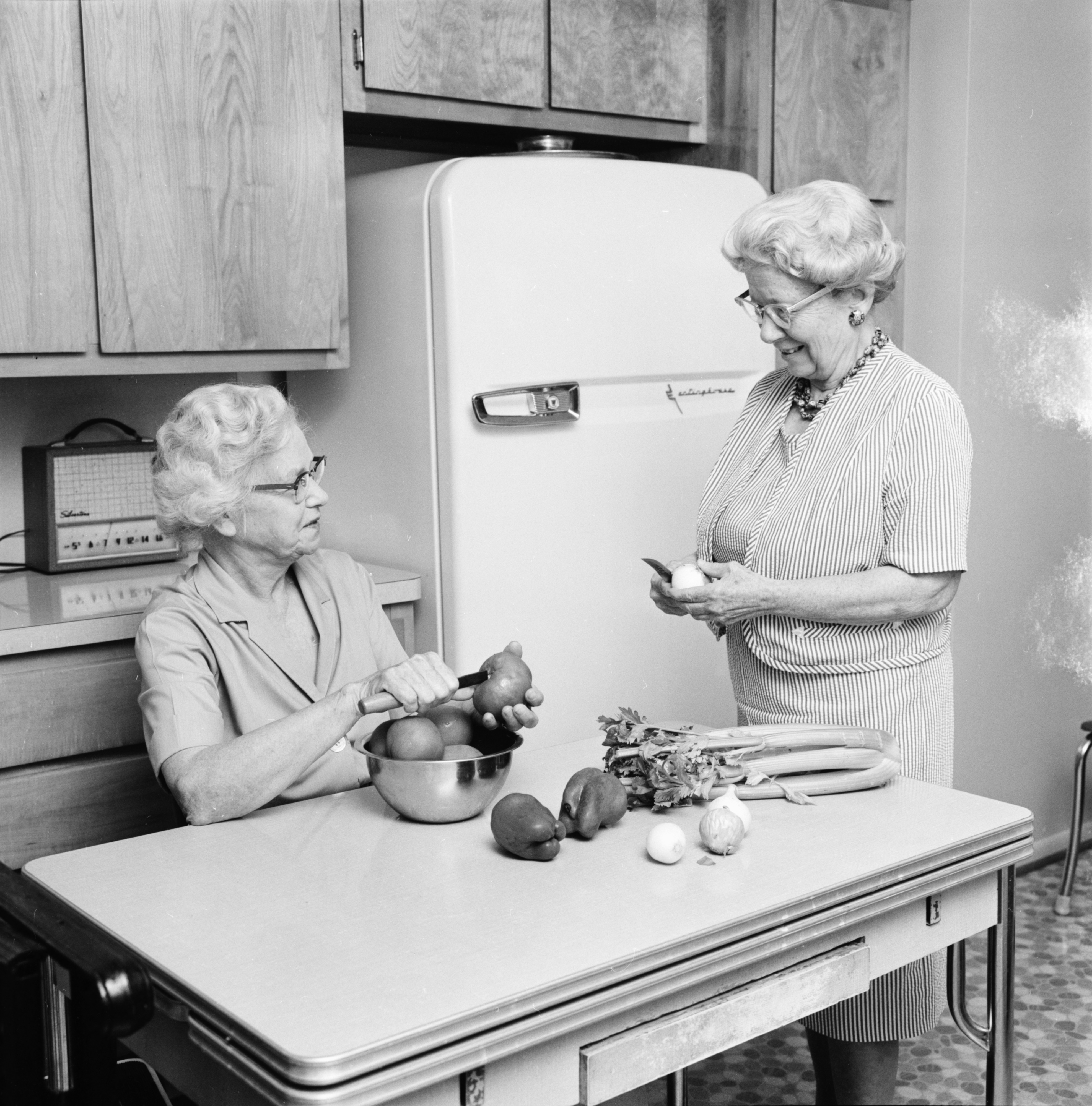 Mrs. Eula Avery and Miss Dorothy Buckley make Tomato soup, October 1964 image